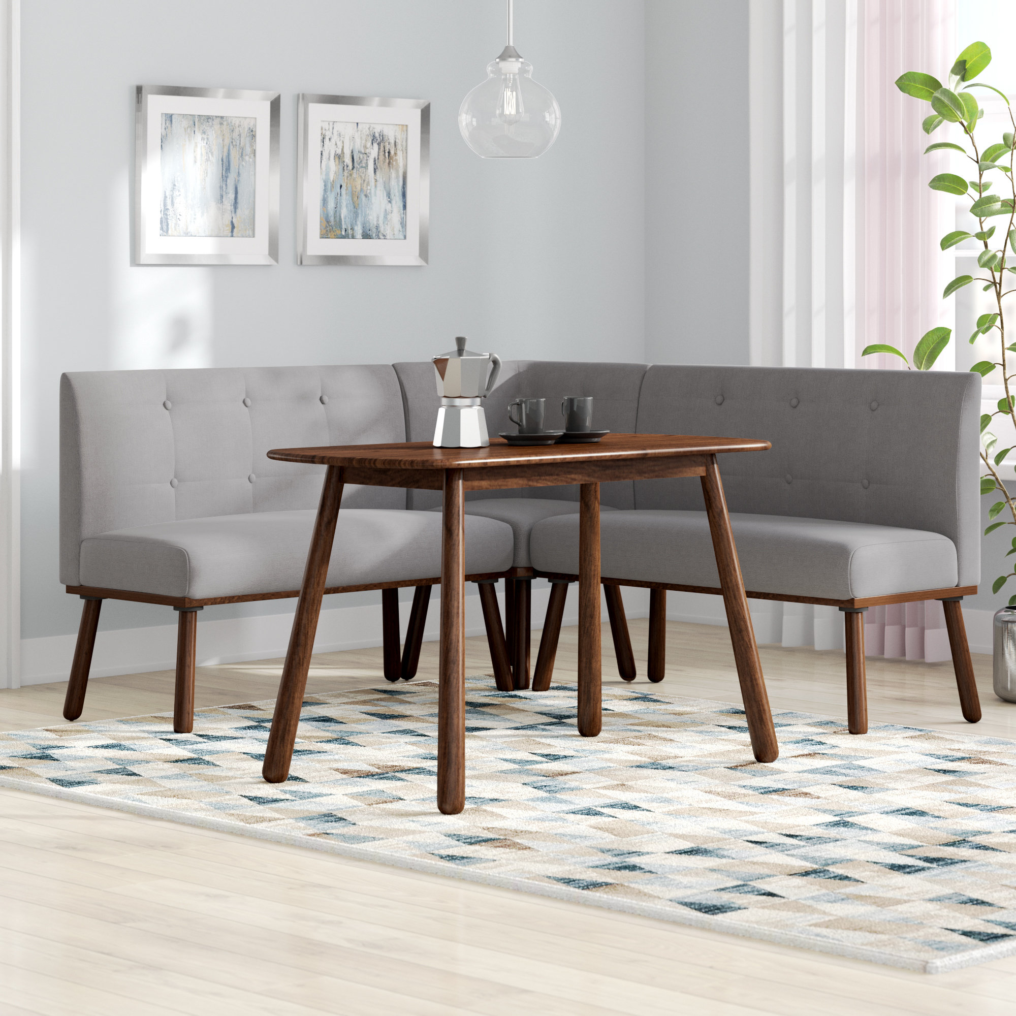 Bucci 4 Piece Breakfast Nook Rectangular Dining Set With Regard To Fashionable Liles 5 Piece Breakfast Nook Dining Sets (Gallery 7 of 20)