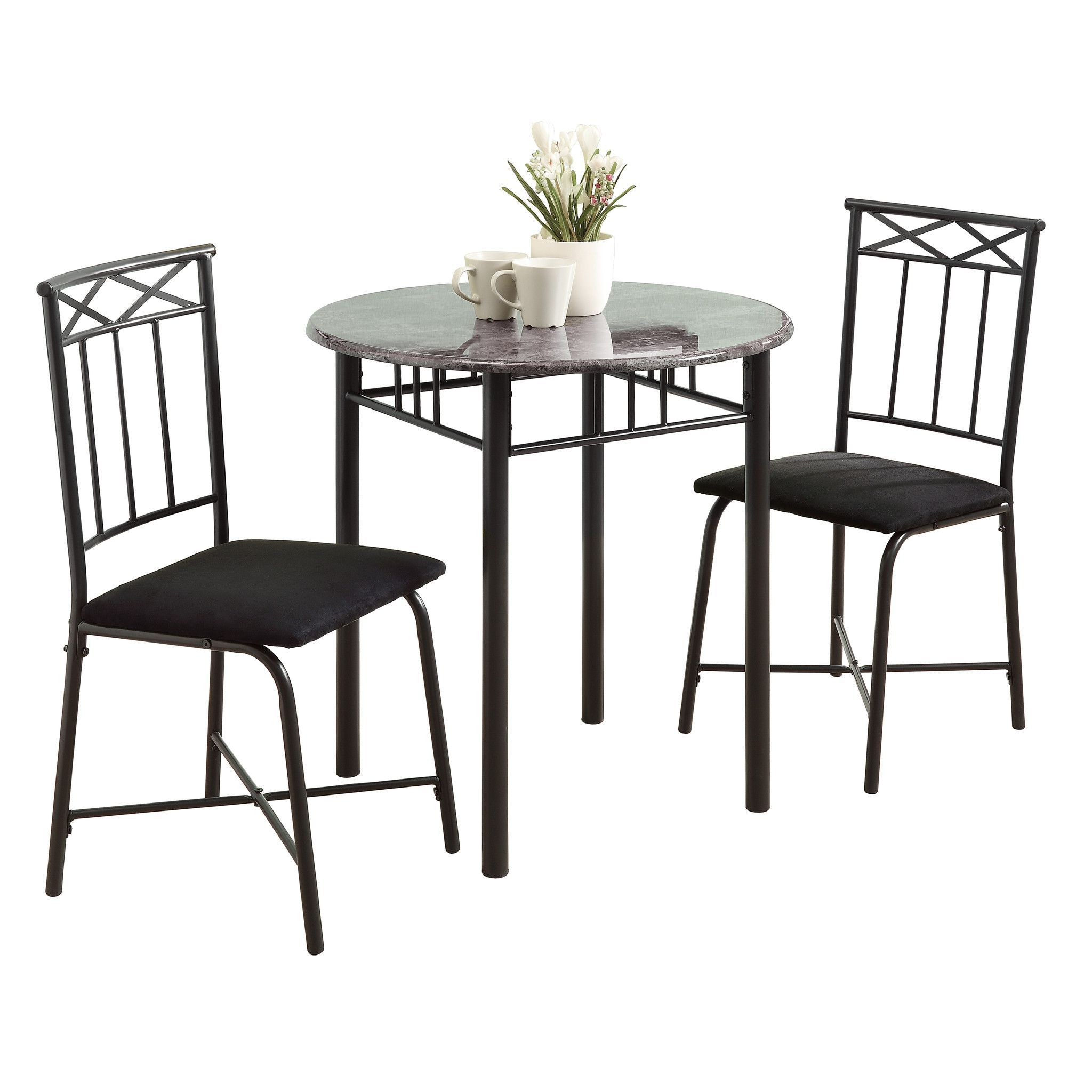 Buy Monarch Specialties I 3065 Dining Set – 3Pcs Set / Grey Marble For Latest Kinsler 3 Piece Bistro Sets (Gallery 2 of 20)
