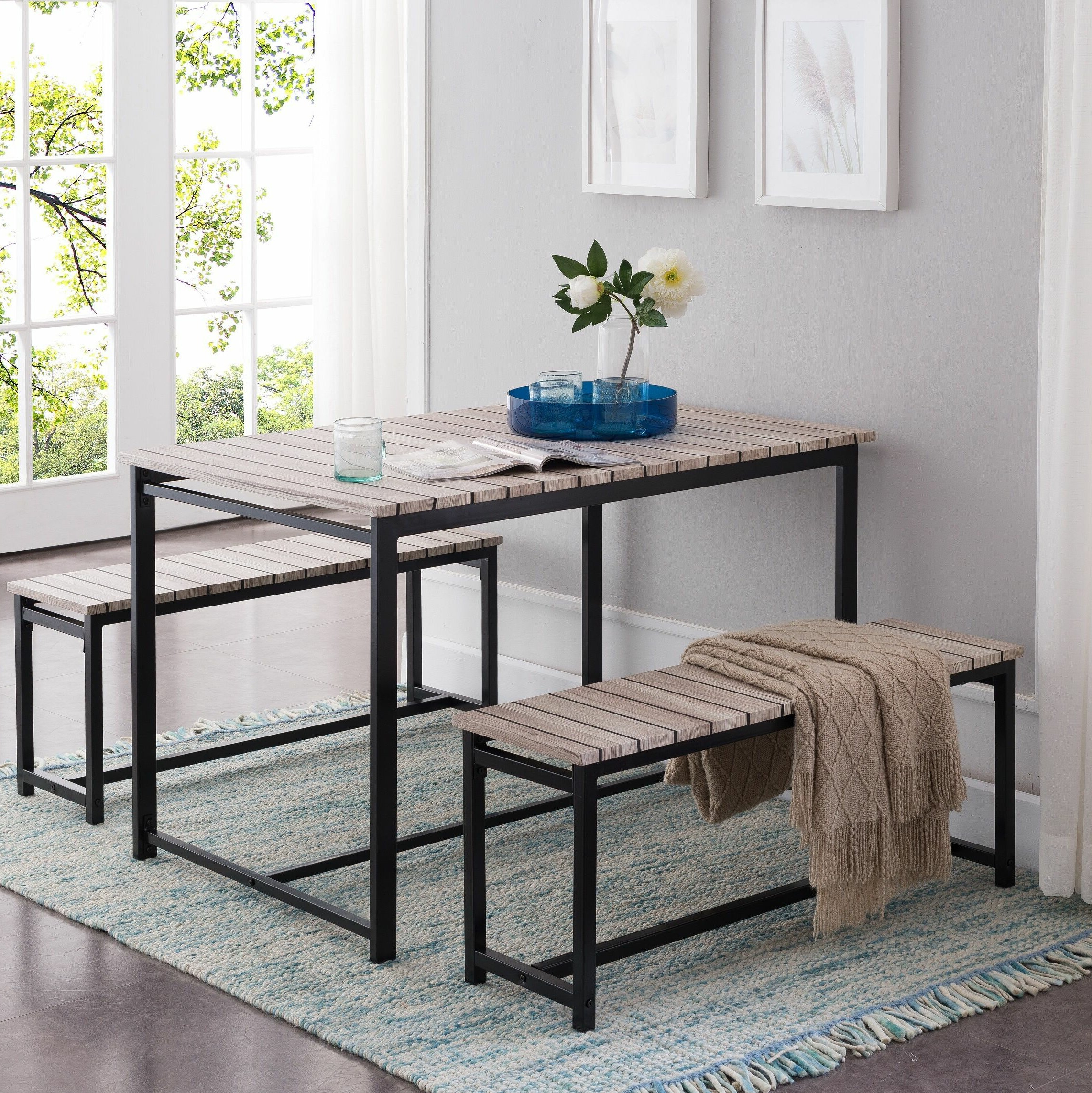 Calla 3 Piece Dining Set For Well Liked Rossiter 3 Piece Dining Sets (View 3 of 20)