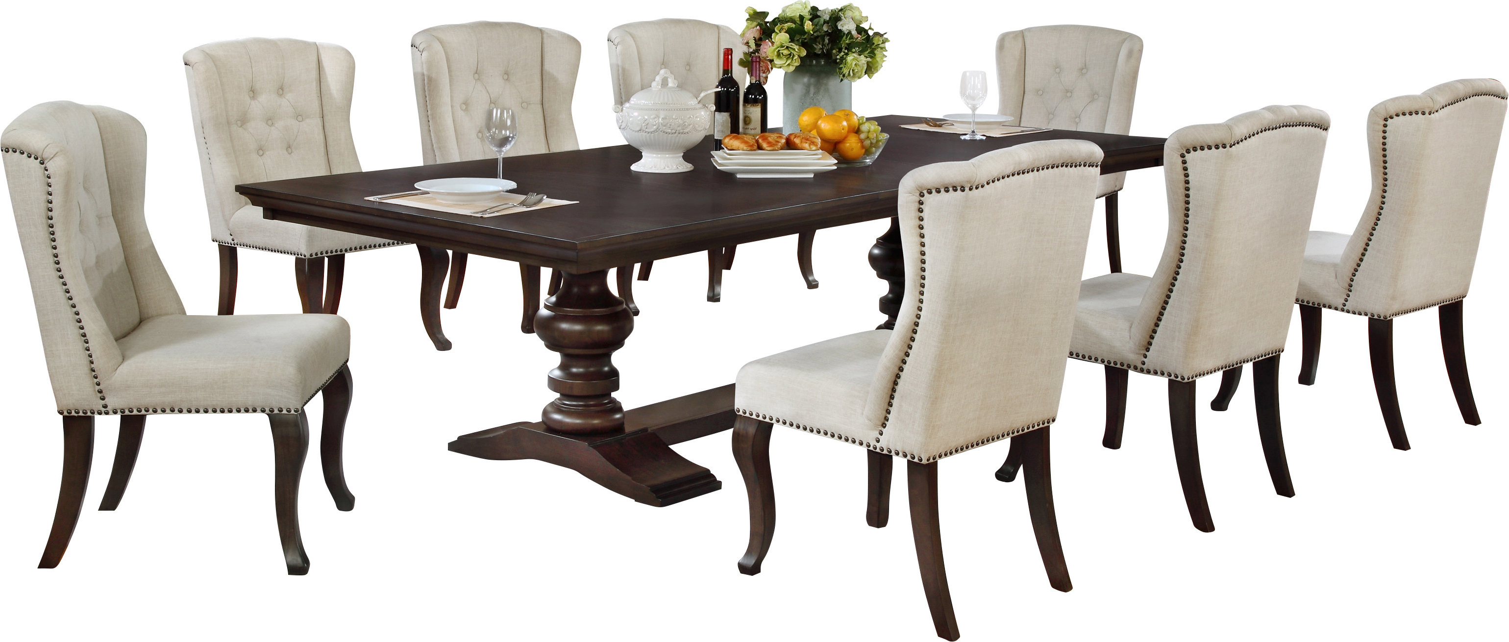 Canora Grey Rolf 9 Piece Extendable Dining Set Inside Famous Nutter 3 Piece Dining Sets (View 4 of 20)