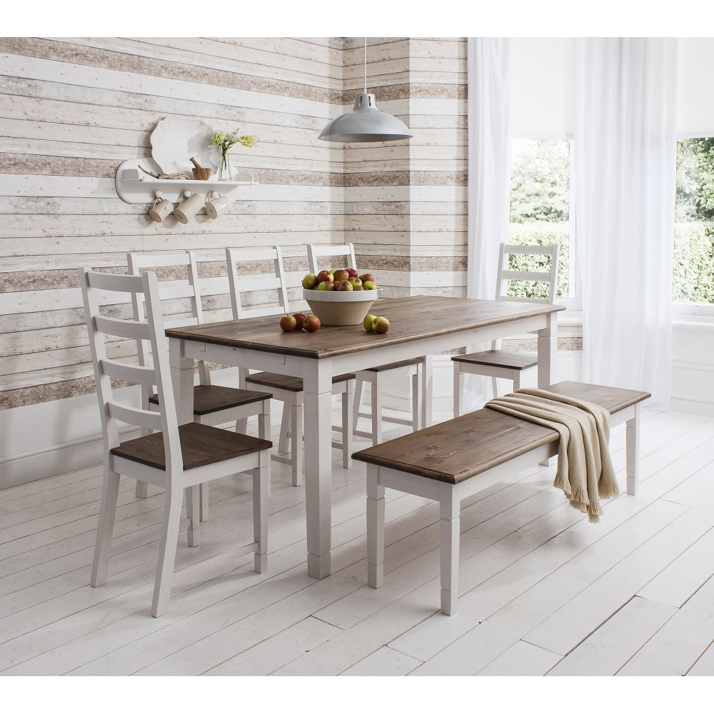 Canterbury Dining Table With 4 Chairs & Bench In Latest John 4 Piece Dining Sets (View 1 of 20)