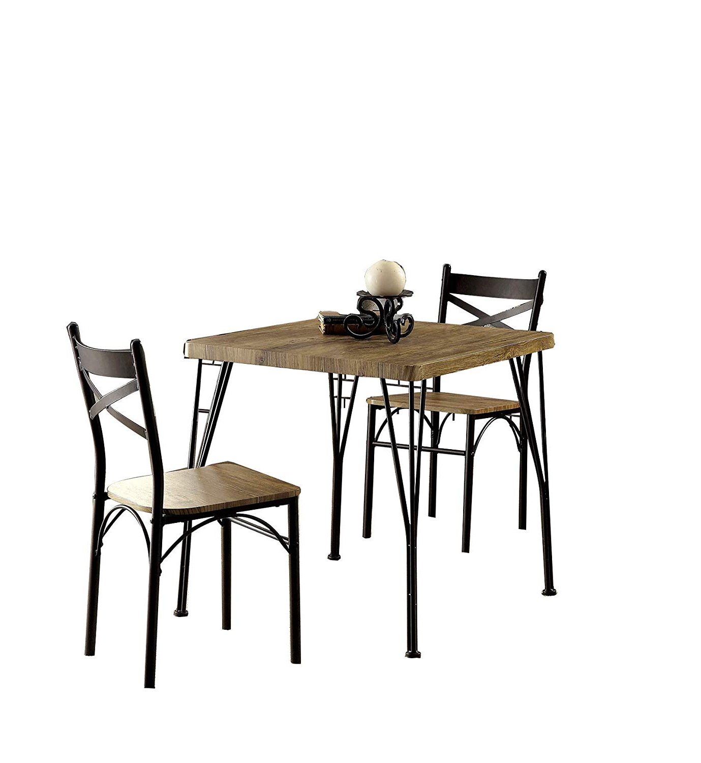 Cargo 5 Piece Dining Sets Regarding Trendy Benzara Bm119853 Industrial Style 3 Piece Dining Table Set Of Wood And  Metal, Brown And Black (View 8 of 20)