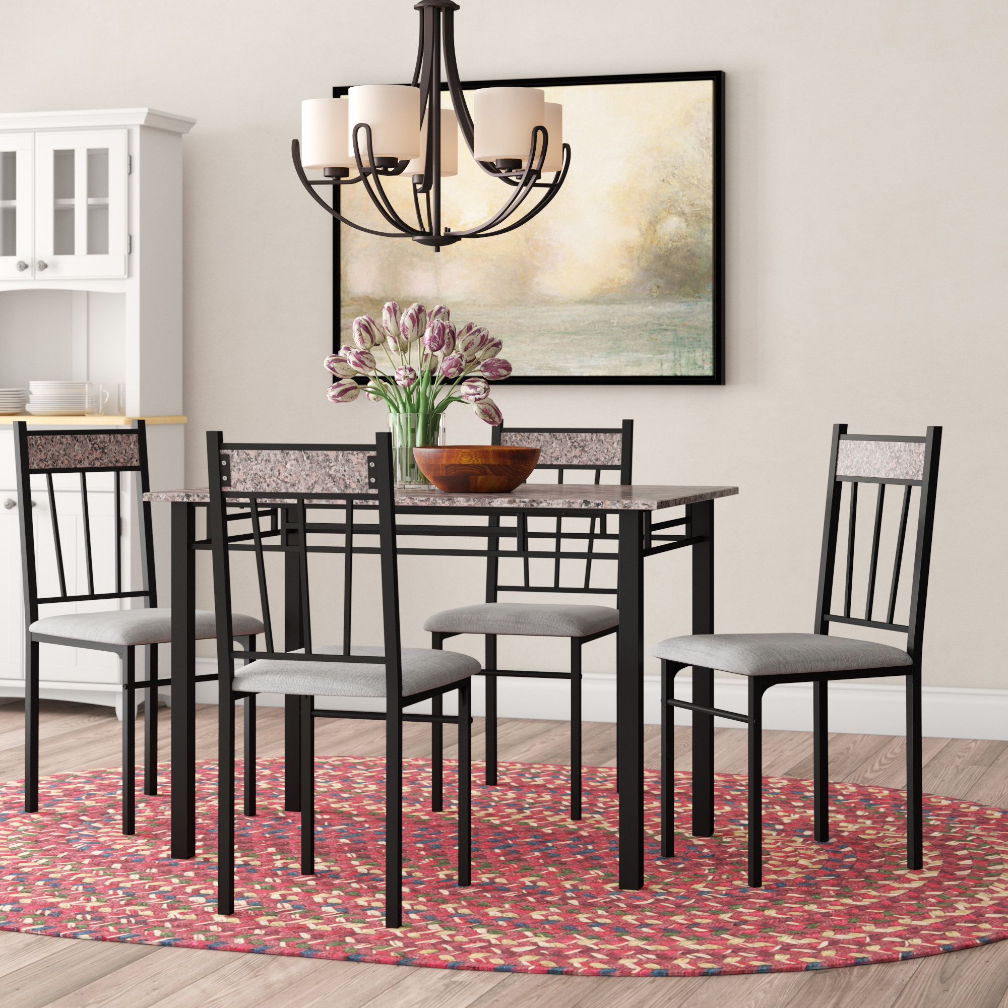 Caspar 5 Piece Dining Set Inside 2018 Lightle 5 Piece Breakfast Nook Dining Sets (View 1 of 20)