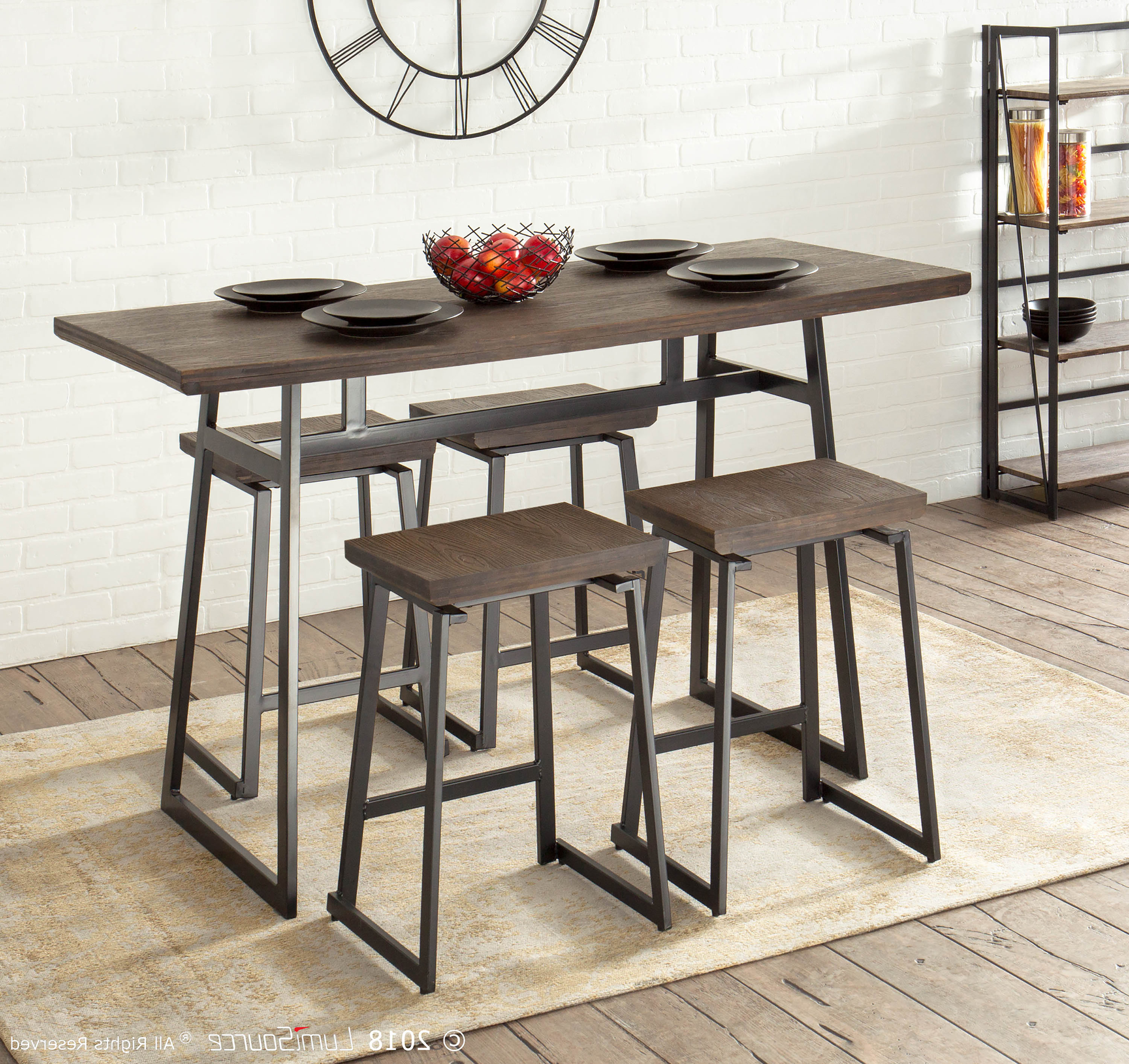 Cassiopeia Industrial 5 Piece Counter Height Dining Set Within Trendy Bryson 5 Piece Dining Sets (View 9 of 20)