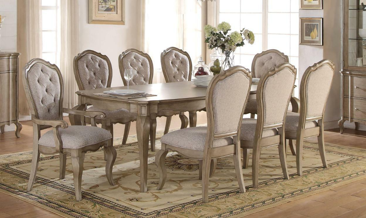 Chelmsford 3 Piece Dining Sets Pertaining To Well Known Antique Taupe Dining Room Set 7 Pcs Classic Acme Furniture 66050 Chelmsford (View 5 of 20)