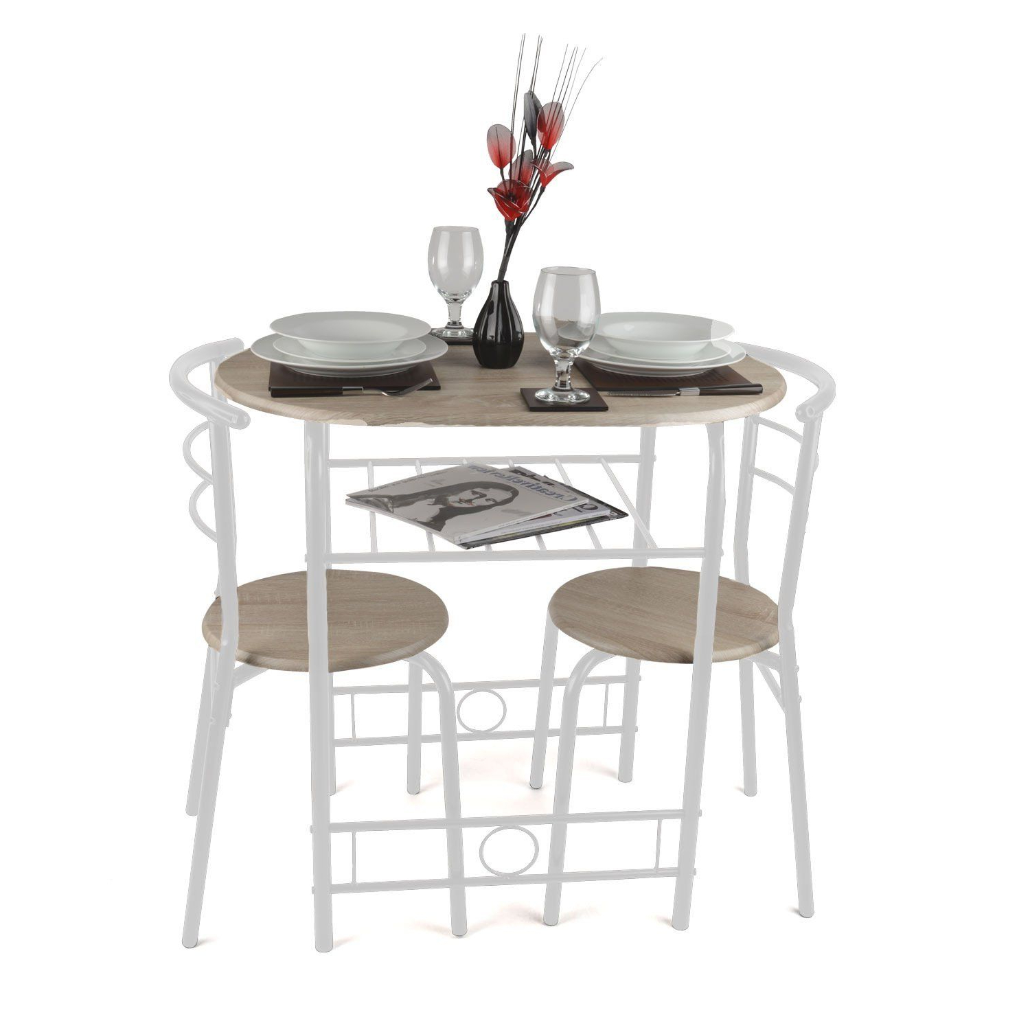 Christow 3 Piece Breakfast Dining Set White: Amazon.co (View 4 of 20)