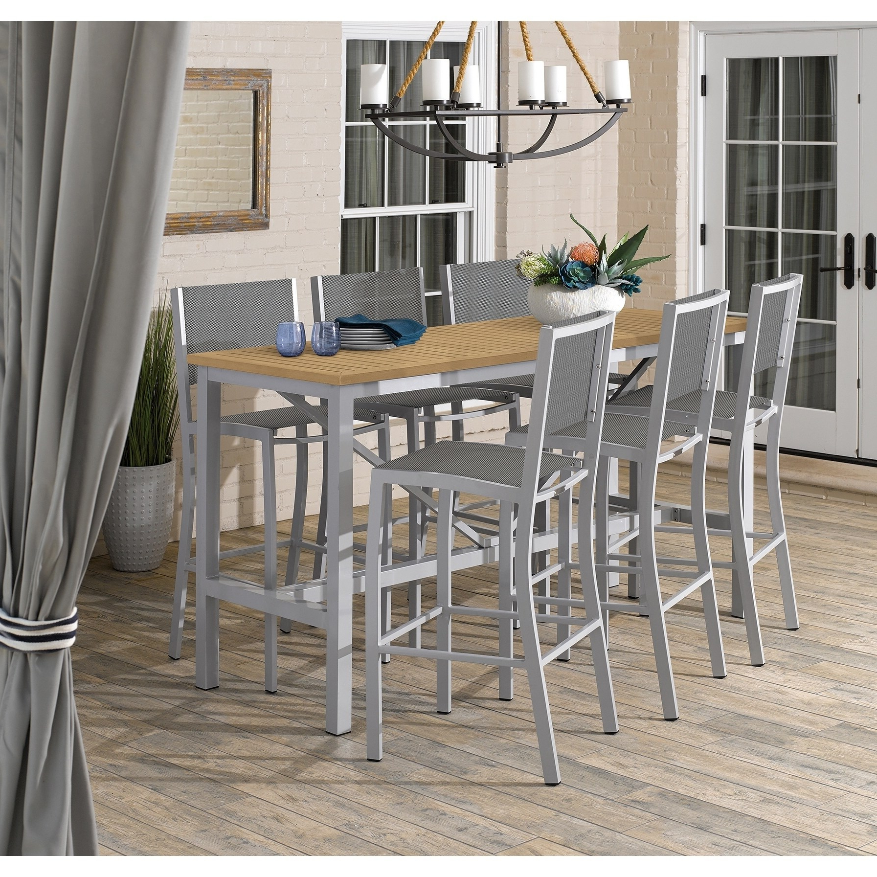 Conover 5 Piece Dining Sets Regarding Fashionable Oxford Garden Travira 7 Piece 72 In X 30 In Tekwood Natural Bar (View 6 of 20)