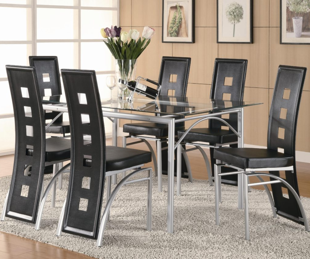 Contemporary Metal Table And Black Upholstered Chairs With Regard To 2018 Linette 5 Piece Dining Table Sets (View 19 of 20)