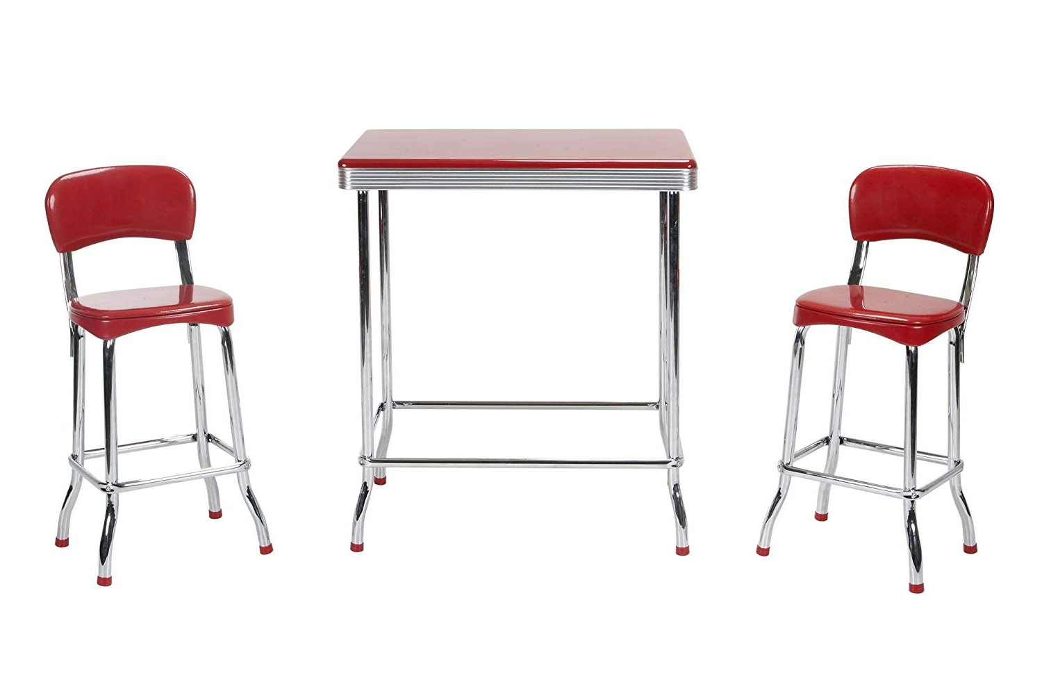 Cosco 14223red1e Stylaire 3 Piece High Top Set, Red & Chrome For 2018 Bate Red Retro 3 Piece Dining Sets (View 2 of 20)