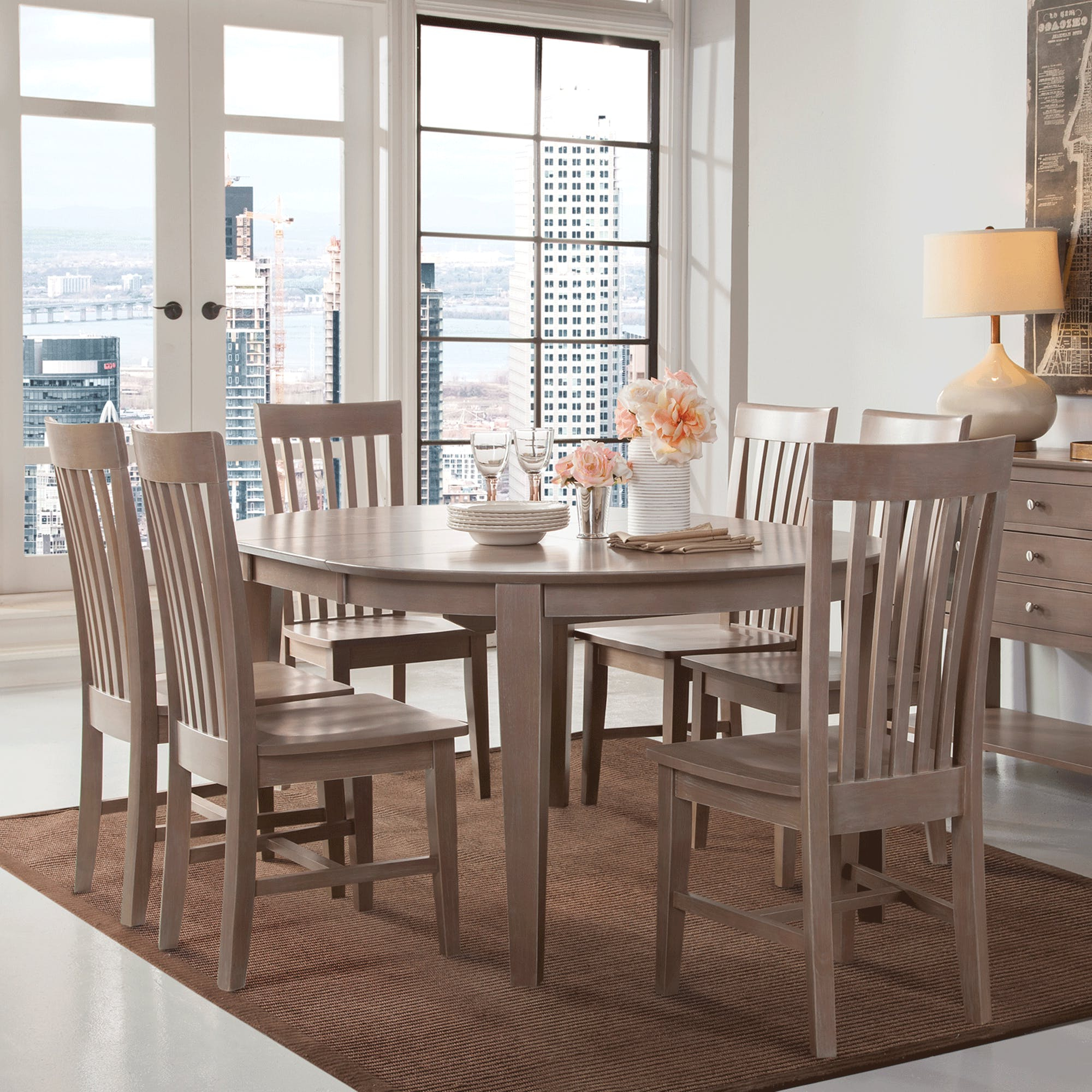 Cosmopolitan Weathered Grey Dining Room 5 Piece Set – Oval Table For Most Popular John 4 Piece Dining Sets (View 2 of 20)