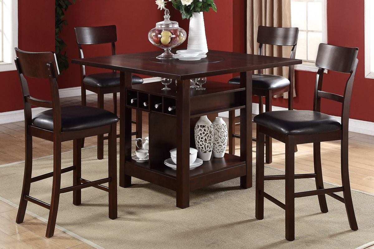 Counter Height In Most Up To Date Goodman 5 Piece Solid Wood Dining Sets (Set Of 5) (View 3 of 20)