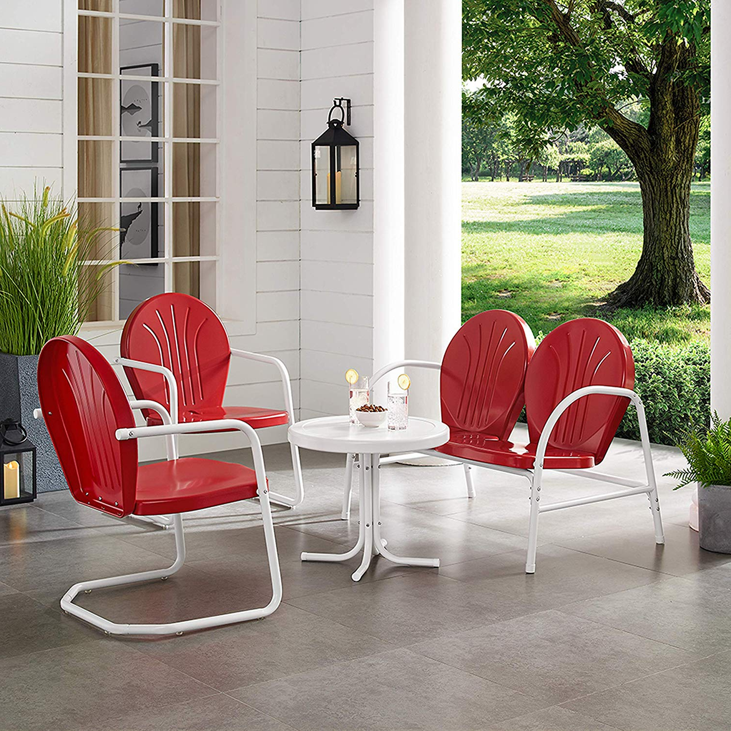Crosley Furniture Griffith 4 Piece Metal Outdoor Conversation Set With Table, Loveseat, And 2 Chairs – Red With Regard To Well Known Bate Red Retro 3 Piece Dining Sets (View 7 of 20)