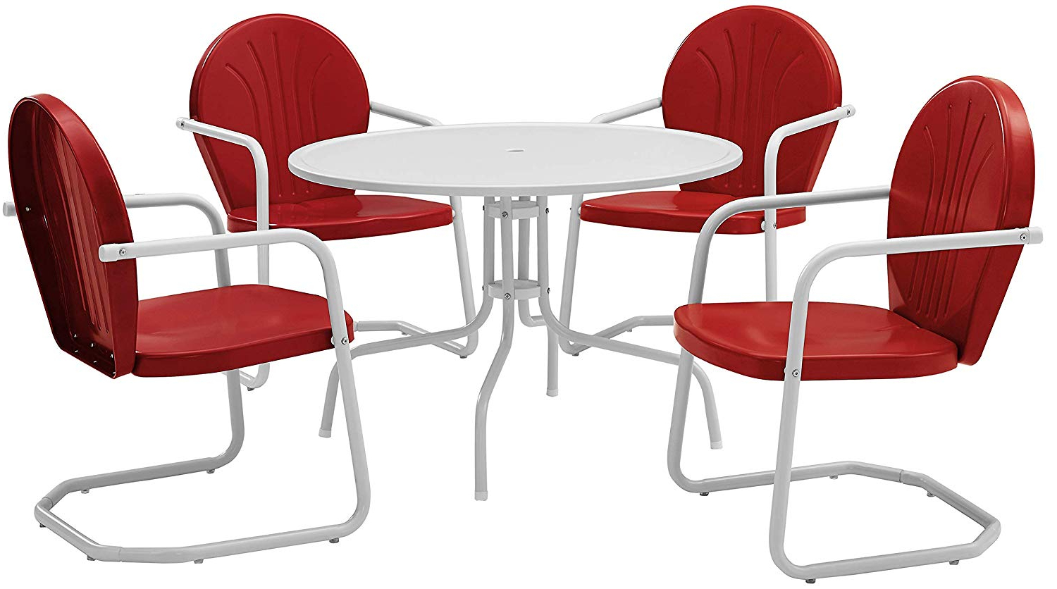 Crosley Furniture Griffith 5 Piece Metal Outdoor Dining Set With Table And Chairs – Coral Red Regarding Popular Bate Red Retro 3 Piece Dining Sets (View 6 of 20)
