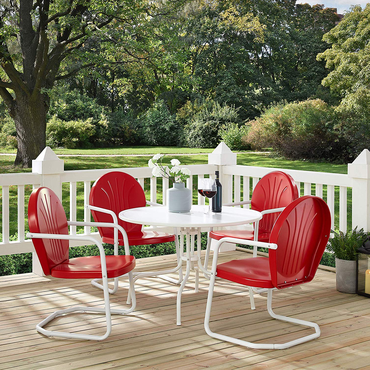 Crosley Furniture Griffith 5 Piece Metal Outdoor Dining Set With Table And  Chairs – Coral Red Regarding Widely Used Bate Red Retro 3 Piece Dining Sets (View 9 of 20)