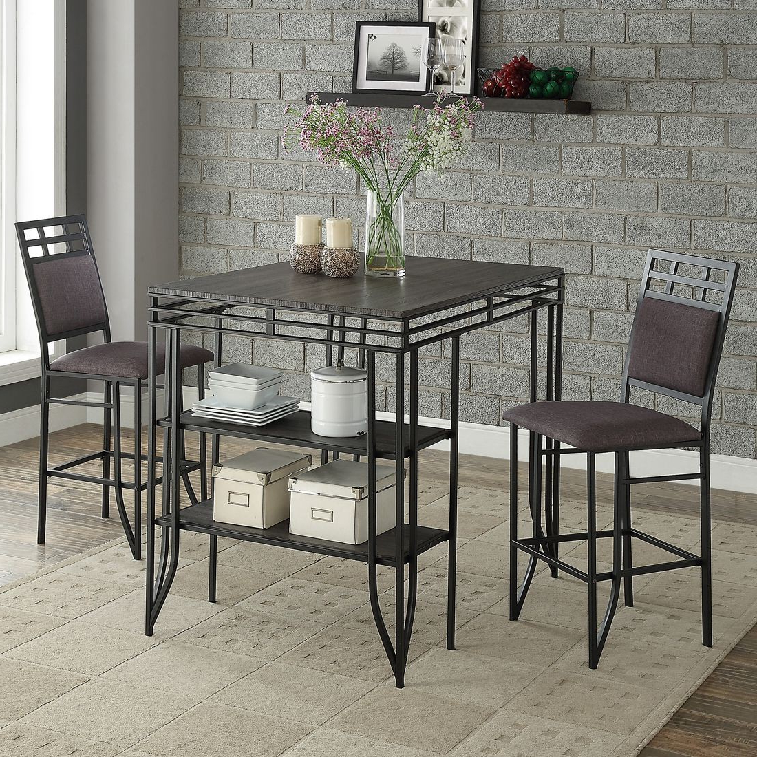 Crown Mark Matrix 3 Piece Counter Height Dining Set In Black Inside Recent 3 Piece Dining Sets (View 5 of 20)