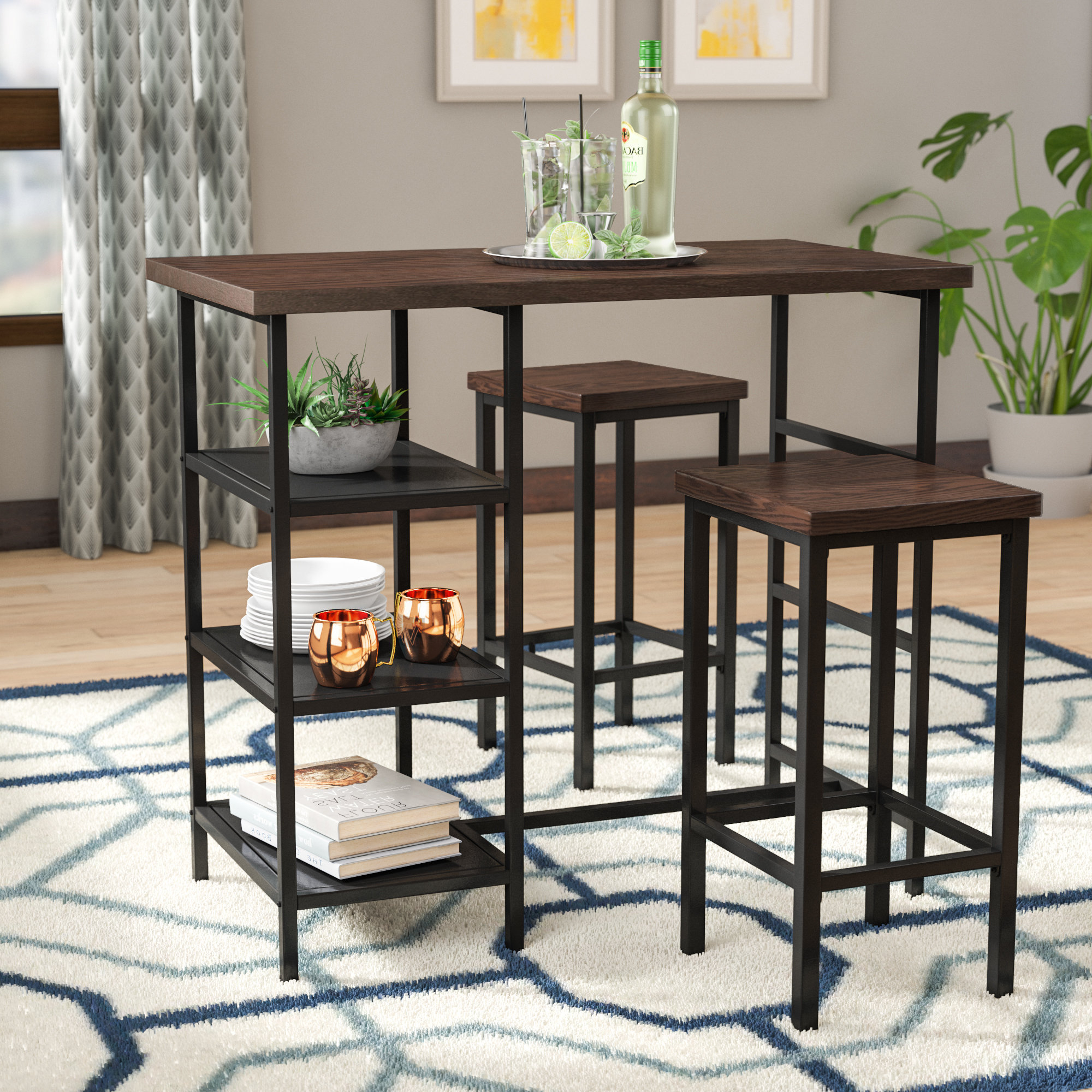 Crownover 3 Piece Bar Table Sets Pertaining To Newest Bezons 3 Piece Pub Table Set (View 18 of 20)