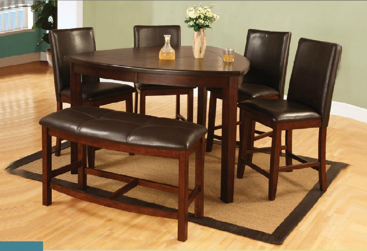 Current 6 Pieces Triangle Counter Height Dining Set With Bench Intended For Castellanos Modern 5 Piece Counter Height Dining Sets (Gallery 7 of 20)