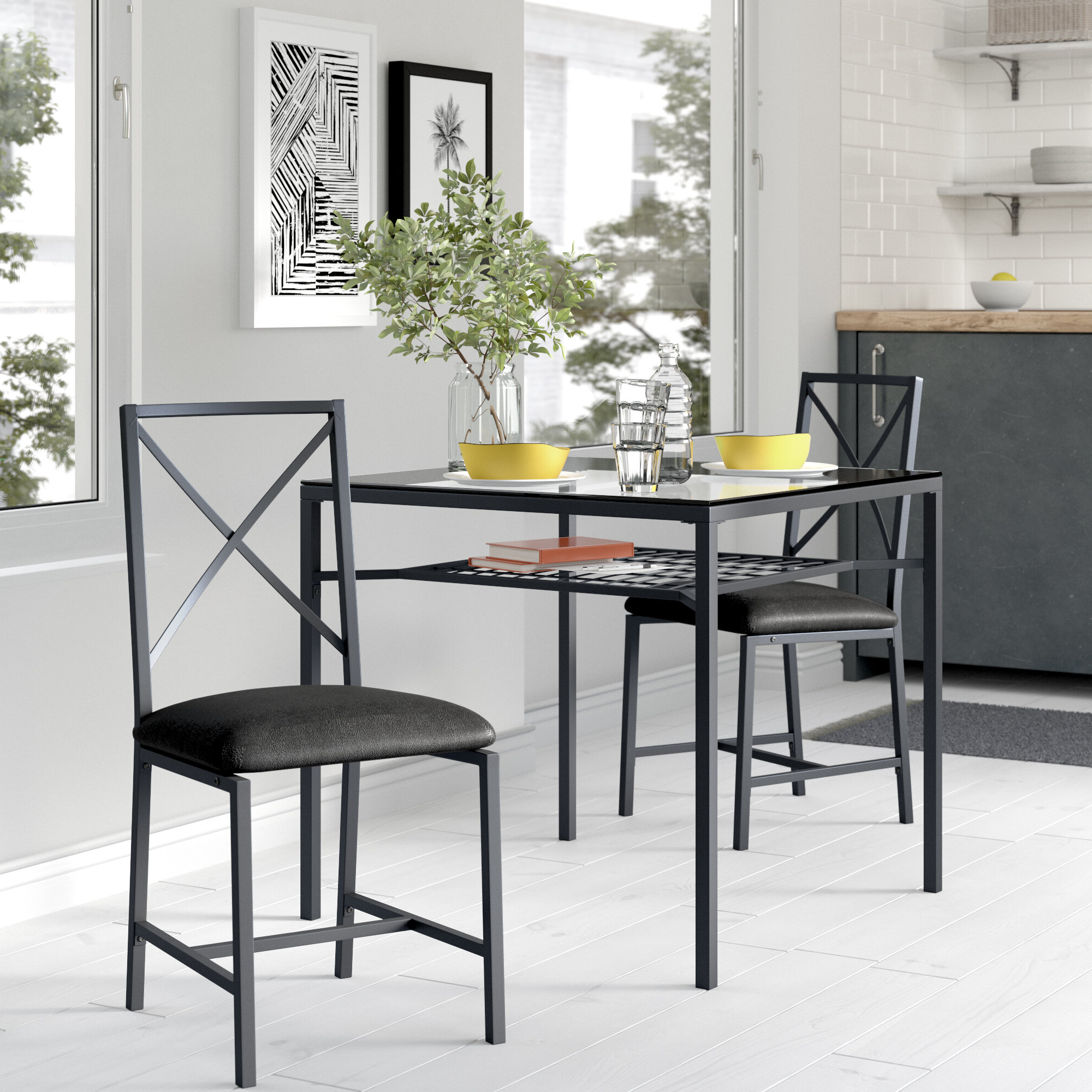 Current Baillie 3 Piece Dining Sets With Regard To Berryhill 3 Piece Dining Set (View 7 of 20)