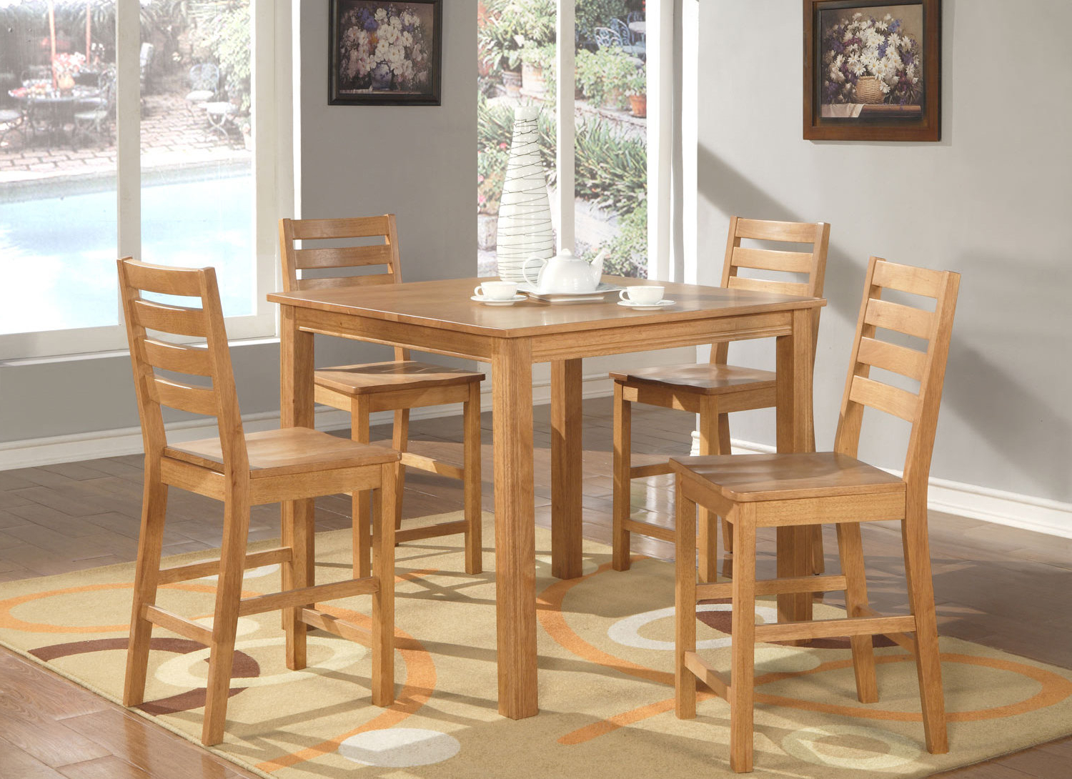 Current Castellanos Modern 5 Piece Counter Height Dining Sets For Café 5 Piece Counter Height Dining Set (Gallery 2 of 20)