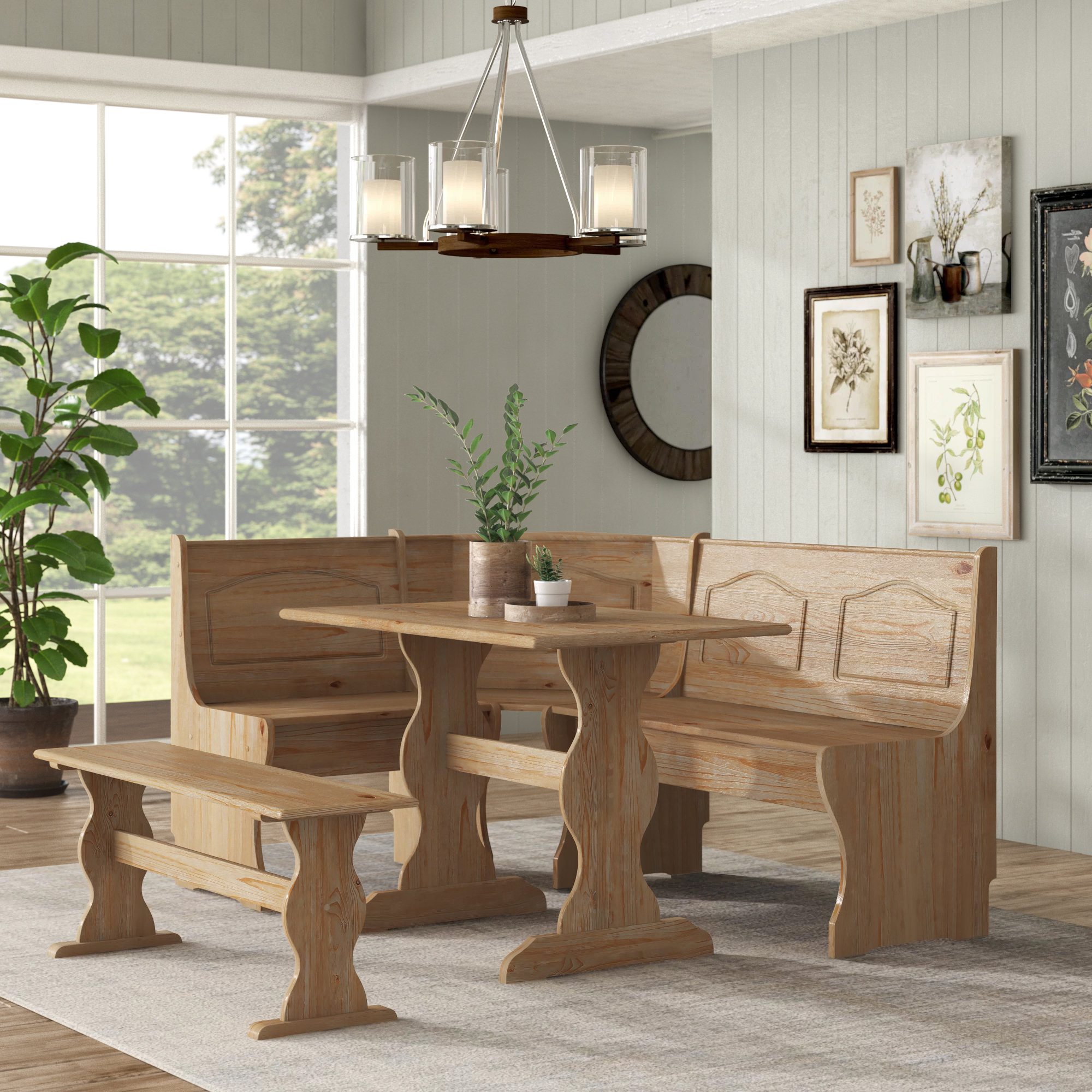 Current Padstow 3 Piece Breakfast Nook Dining Set Intended For 3 Piece Breakfast Nook Dinning Set (View 11 of 20)