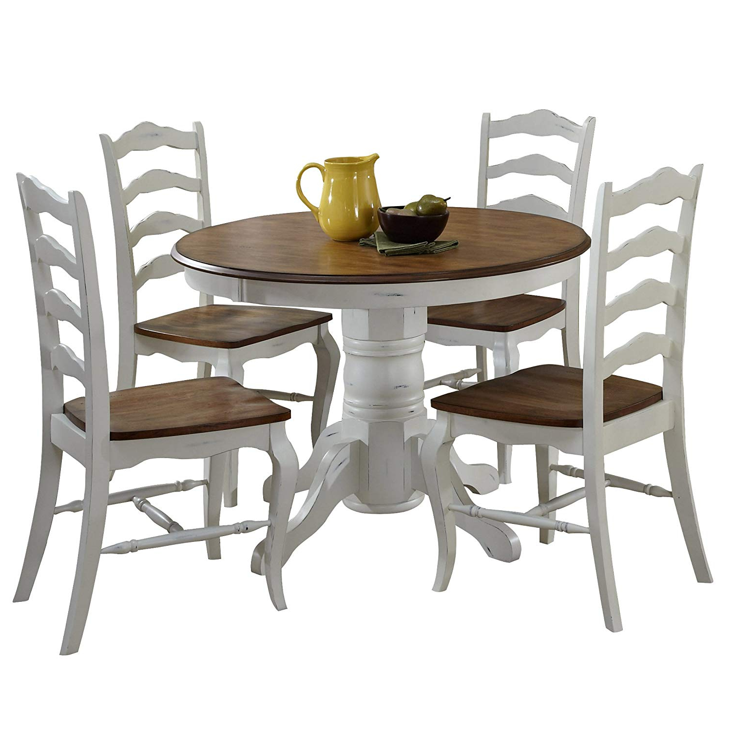 "Current Partin 3 Piece Dining Sets Intended For French Countryside Oak/white 42"" Round Pedestal Dining Table With 4 Chairs Home Styles (View 11 of 20)"