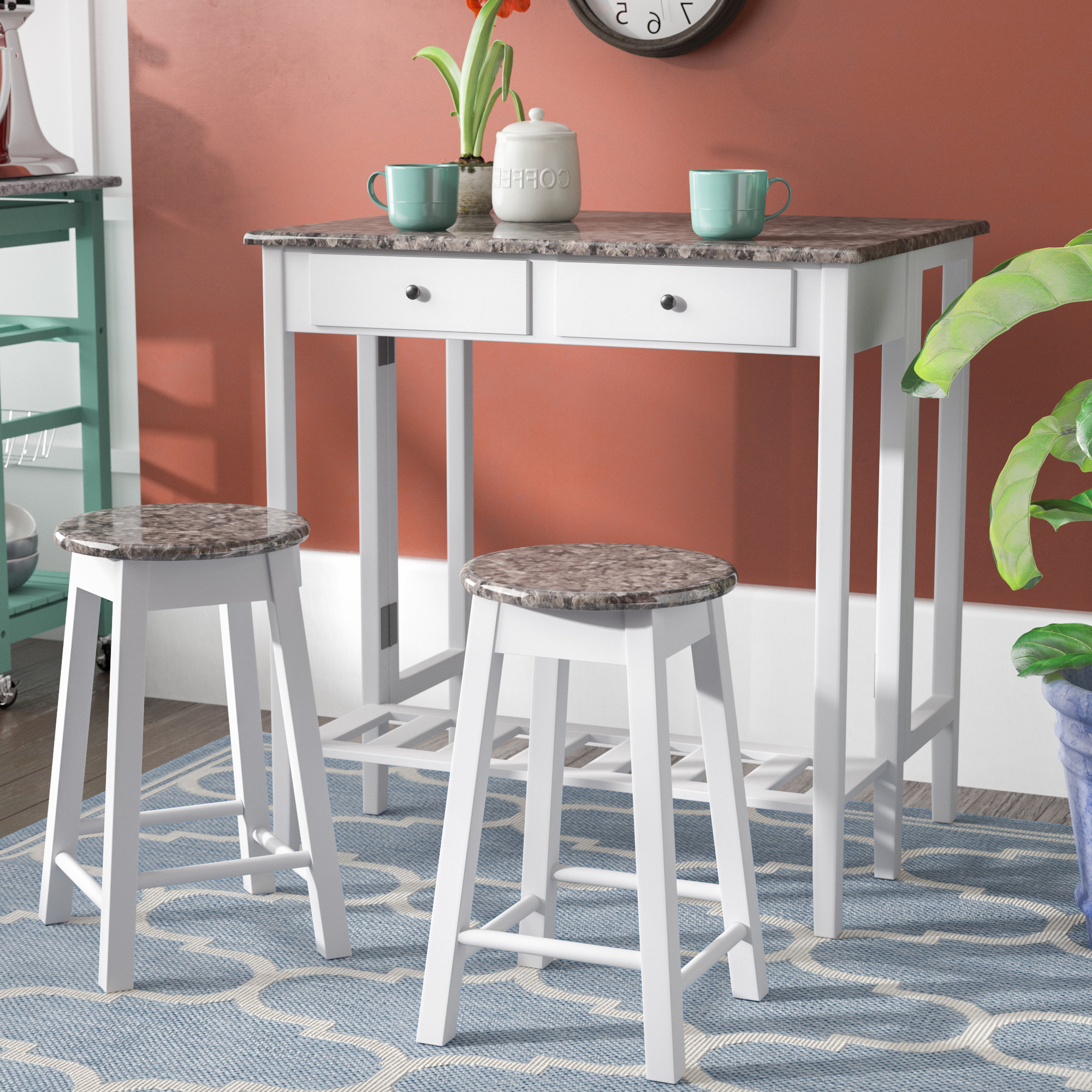 Current Poynter 3 Piece Drop Leaf Dining Sets Pertaining To Cardwell Breakfast 3 Piece Dining Table Set (Gallery 3 of 20)