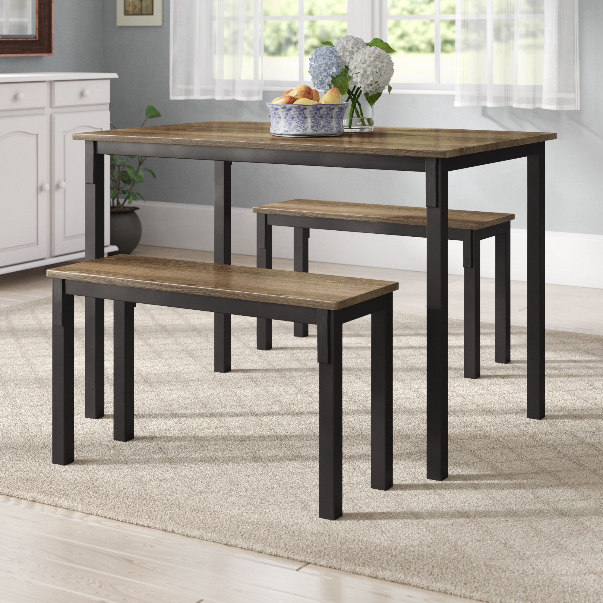 Current Rossiter 3 Piece Dining Set Throughout Ryker 3 Piece Dining Sets (Gallery 6 of 20)