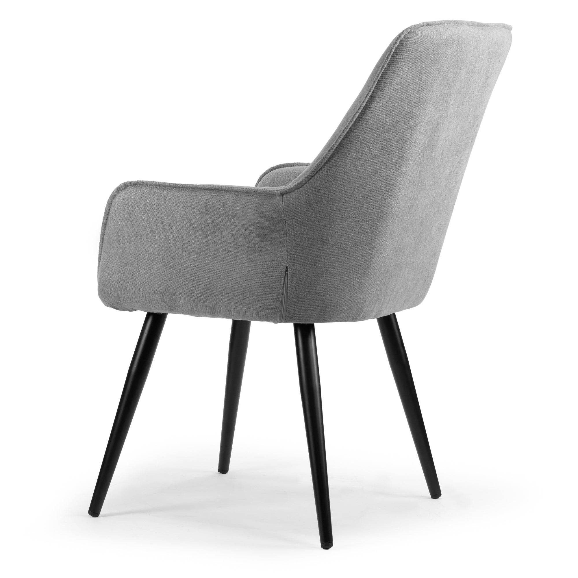 Current Set Of 2 Amir Grey Dining Chair With Black Metal Legs And Square Arms In Amir 5 Piece Solid Wood Dining Sets (Set Of 5) (Gallery 16 of 20)