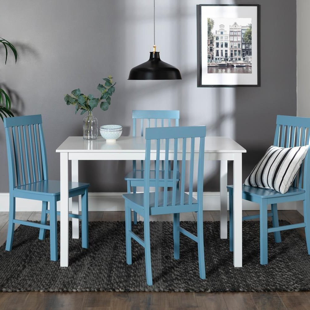 Current Walker Edison Furniture Company Greyson 5 Piece White And Powder Intended For Stouferberg 5 Piece Dining Sets (View 11 of 20)