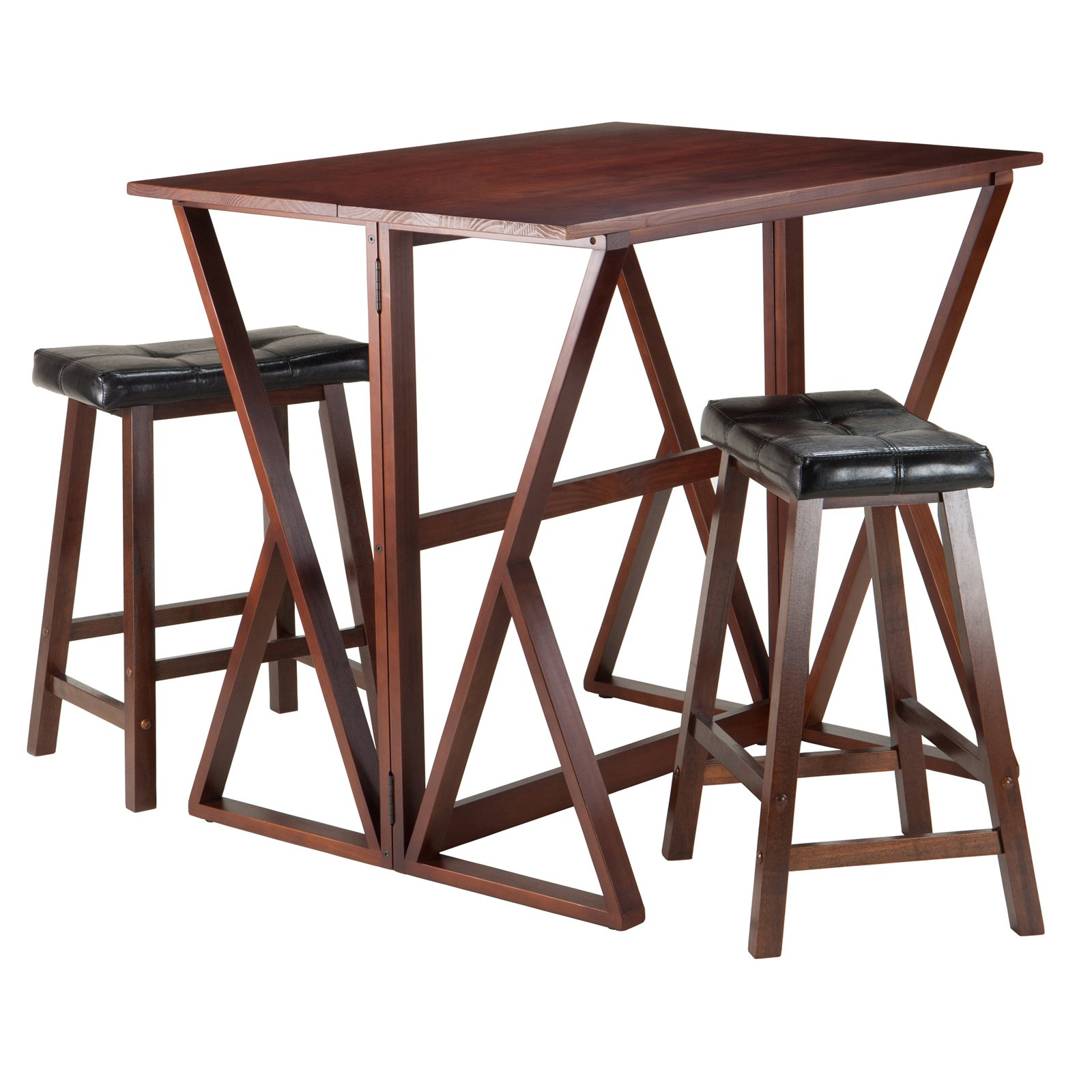 Current Winsome 3 Piece Counter Height Dining Sets With Winsome Trading Harrington 3 Piece Counter Height Dining Table Set With 24  In. Saddle Seat Stools (Gallery 14 of 20)