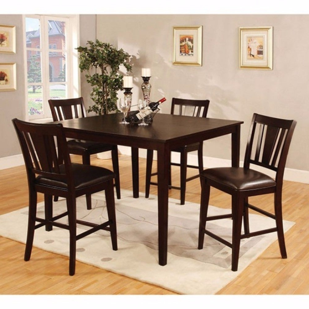 Current Wooden 5 Piece Square Top Counter Height Table Set, Dark Brown With Regard To Penelope 3 Piece Counter Height Wood Dining Sets (Gallery 20 of 20)