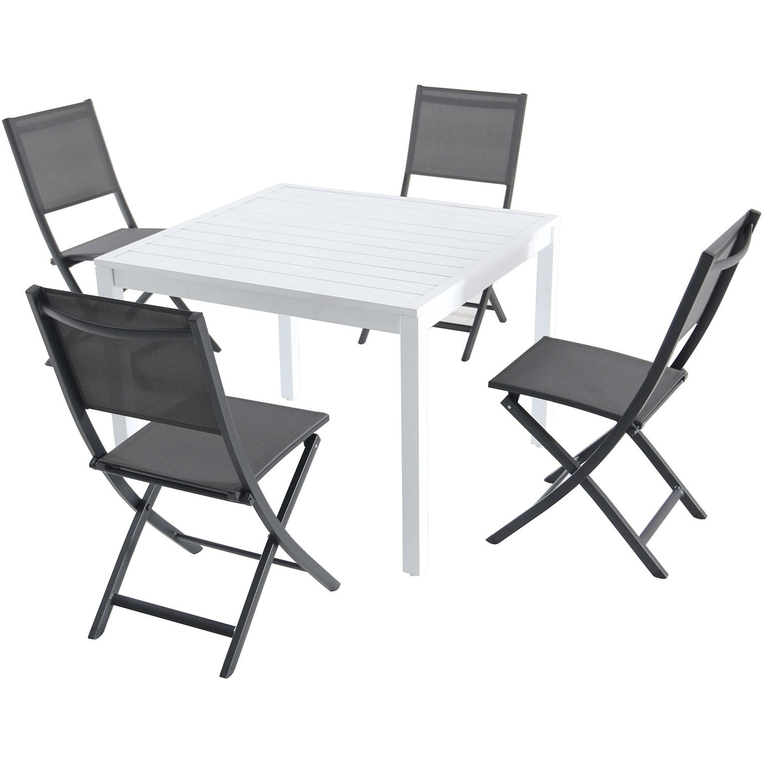 "Delmar 5 Piece Dining Sets In Trendy Hanover Del Mar 5 Piece Outdoor Dining Set With 4 Sling Folding Chairs And A 38"" Square Dining Table (View 16 of 20)"