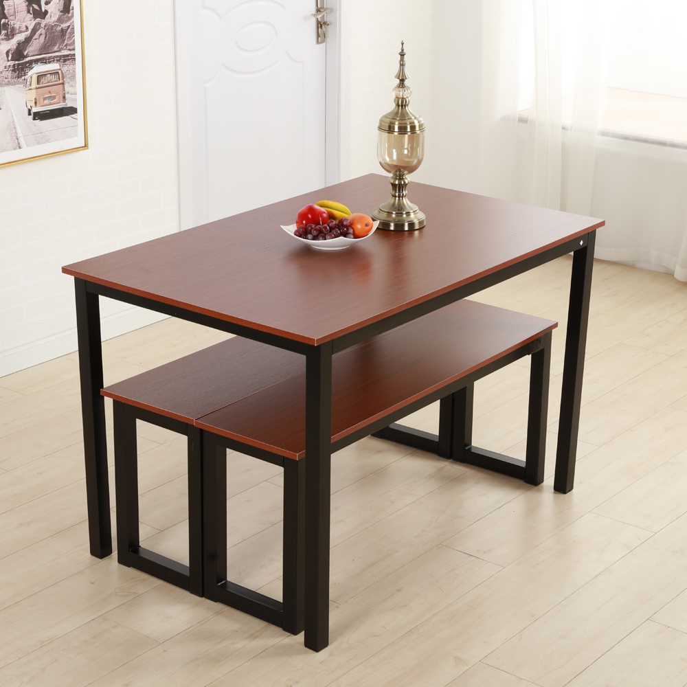Details About Brown Dining Table Set 3 Piece Benches Breakfast Nook Steel  Frame Kitchen New Pertaining To Most Up To Date Lillard 3 Piece Breakfast Nook Dining Sets (Gallery 6 of 20)