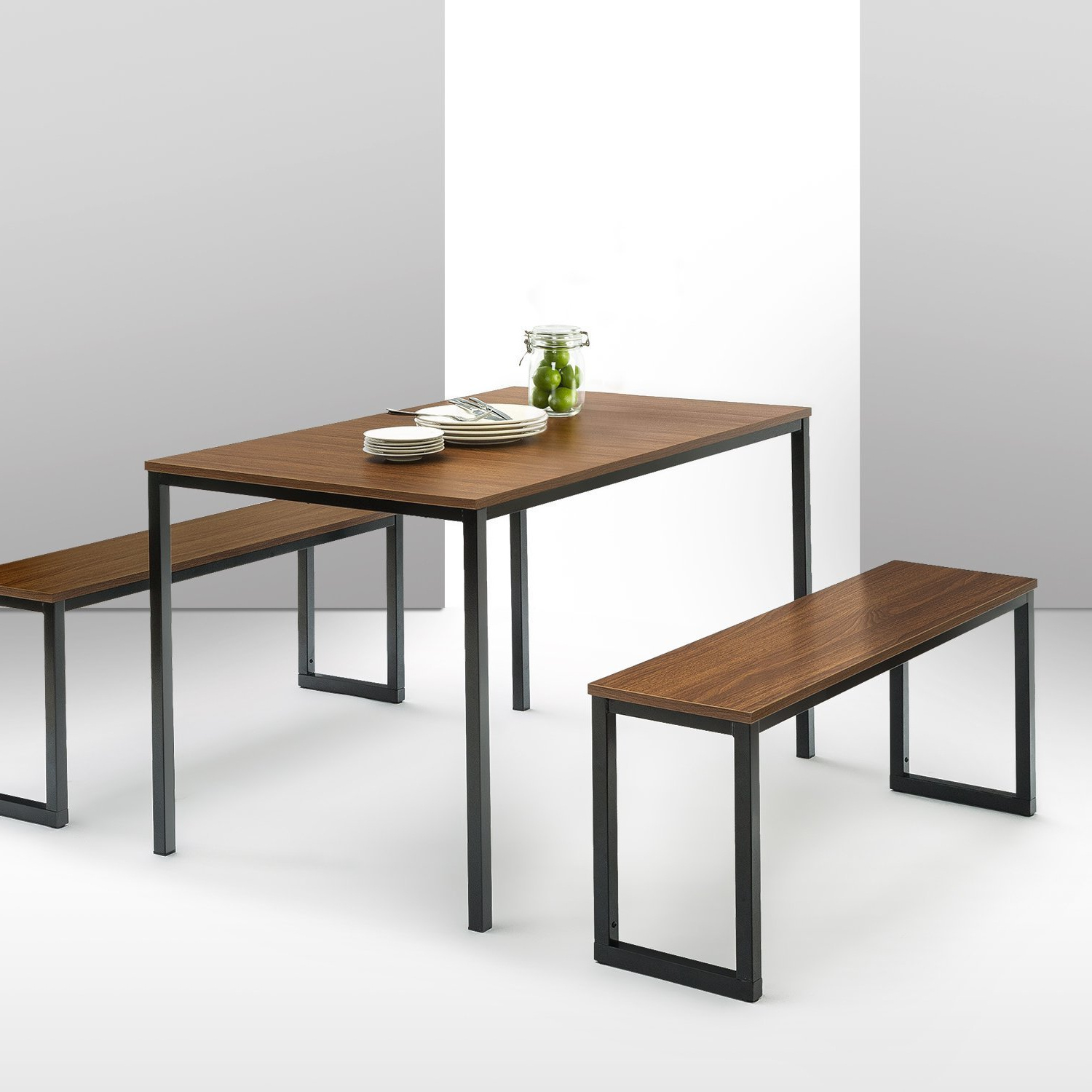 Details About Brown Dining Table Set 3 Piece Benches Breakfast Nook Steel Frame Kitchen New Throughout Trendy Lillard 3 Piece Breakfast Nook Dining Sets (View 3 of 20)