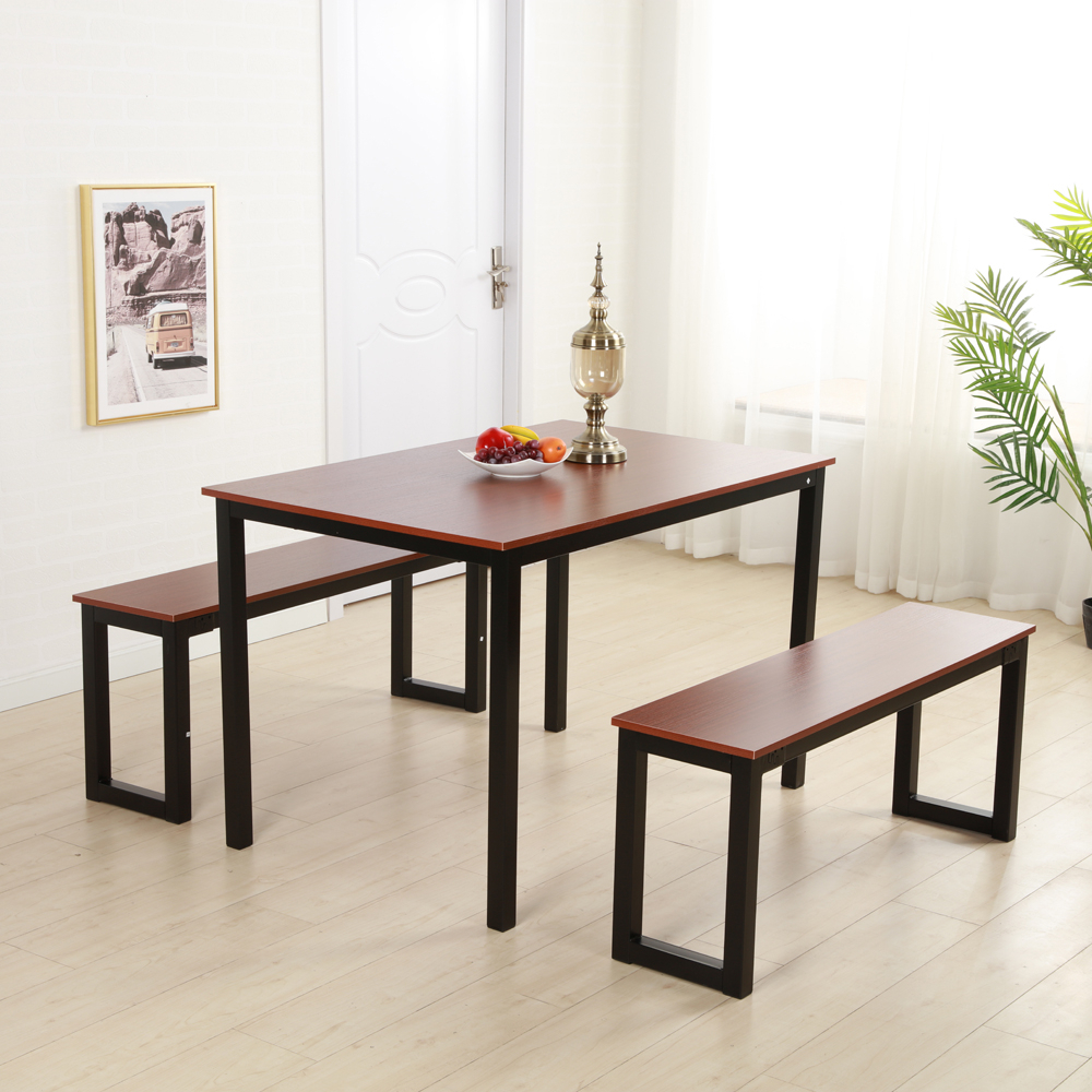 Details About Brown Dining Table Set 3 Piece Benches Breakfast Nook Steel Frame Kitchen New Within Best And Newest Lillard 3 Piece Breakfast Nook Dining Sets (View 4 of 20)