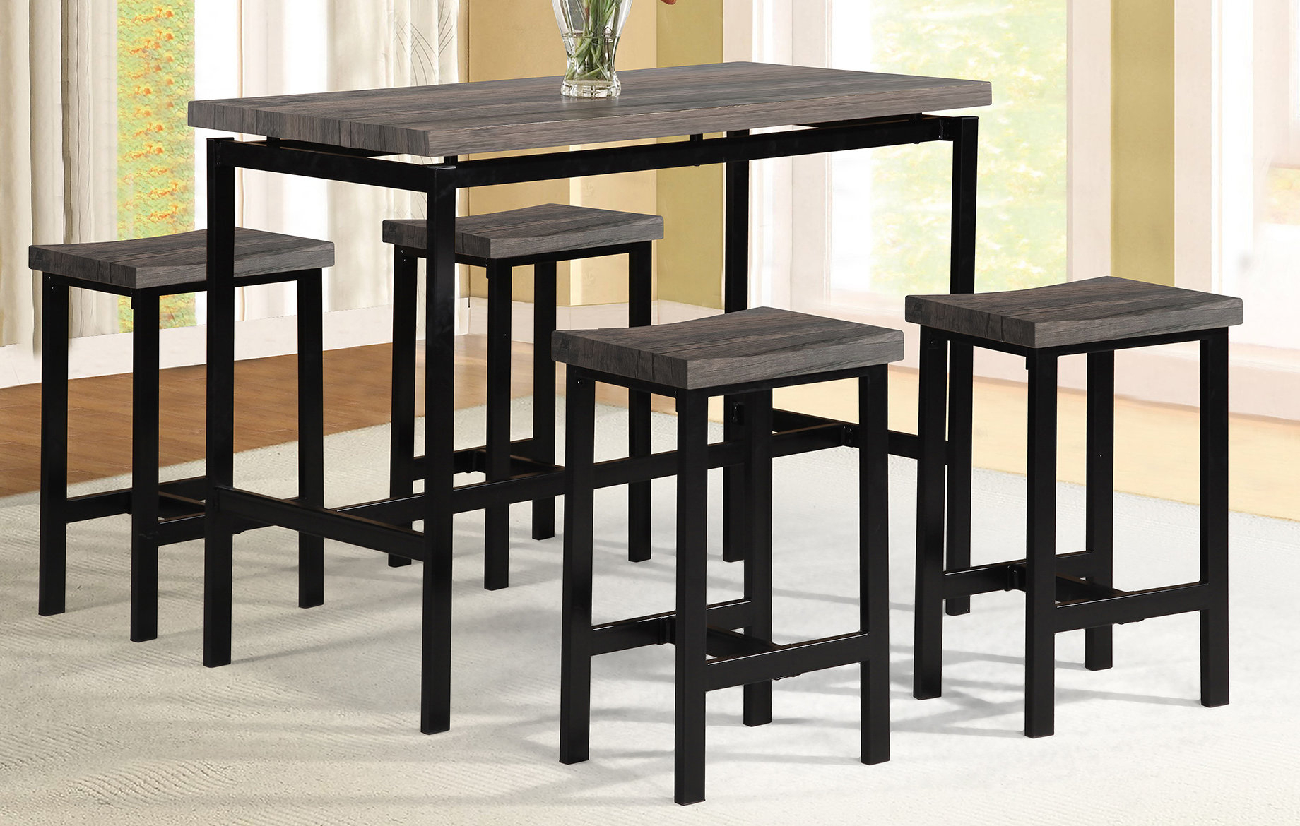 Details About Wrought Studio Denzel 5 Piece Counter Height Breakfast Nook Dining Set Intended For Well Liked Denzel 5 Piece Counter Height Breakfast Nook Dining Sets (View 3 of 20)