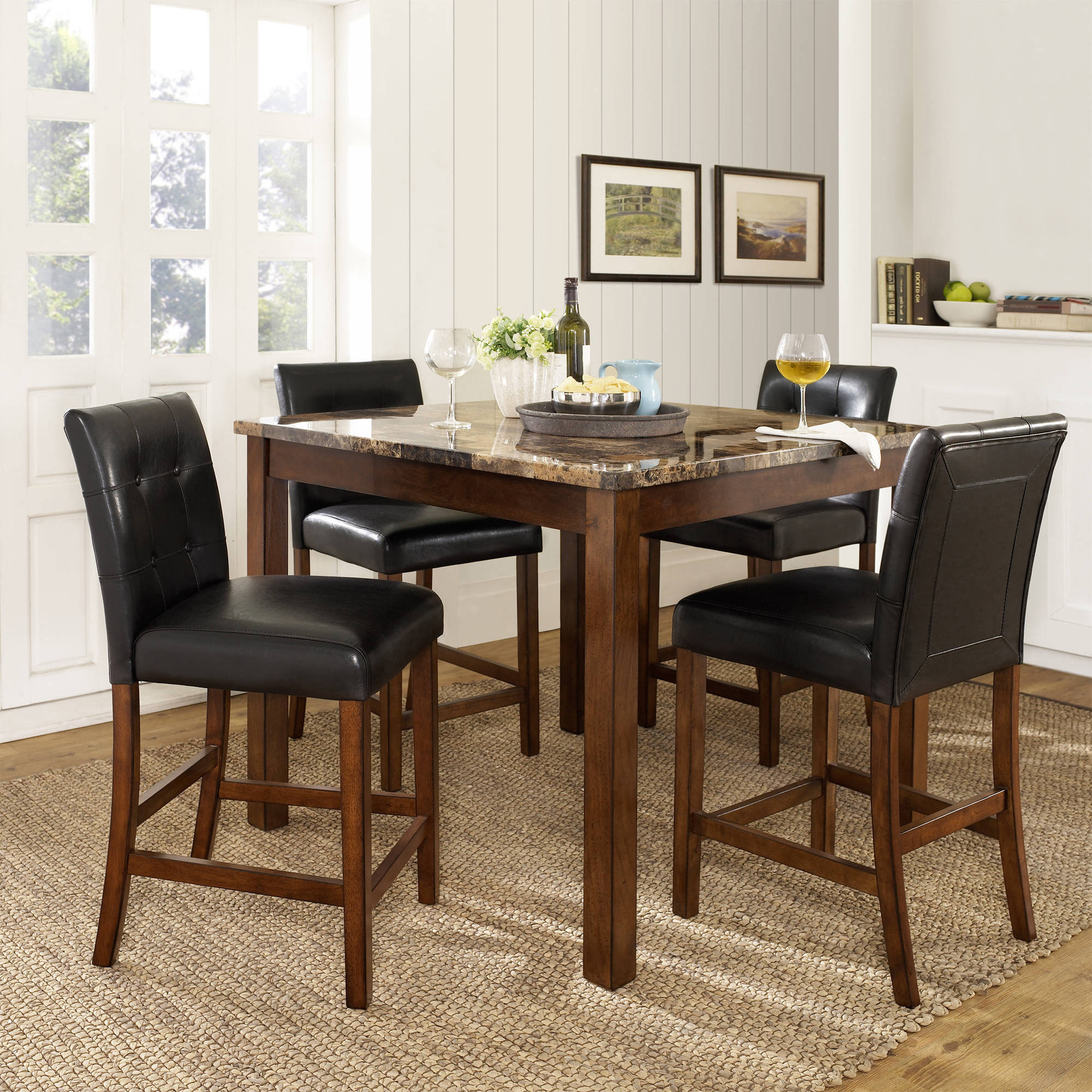 Dorel Living Andover 5 Piece Counter Height Dining Set, Multiple Colors In Most Recent 5 Piece Dining Sets (View 17 of 20)