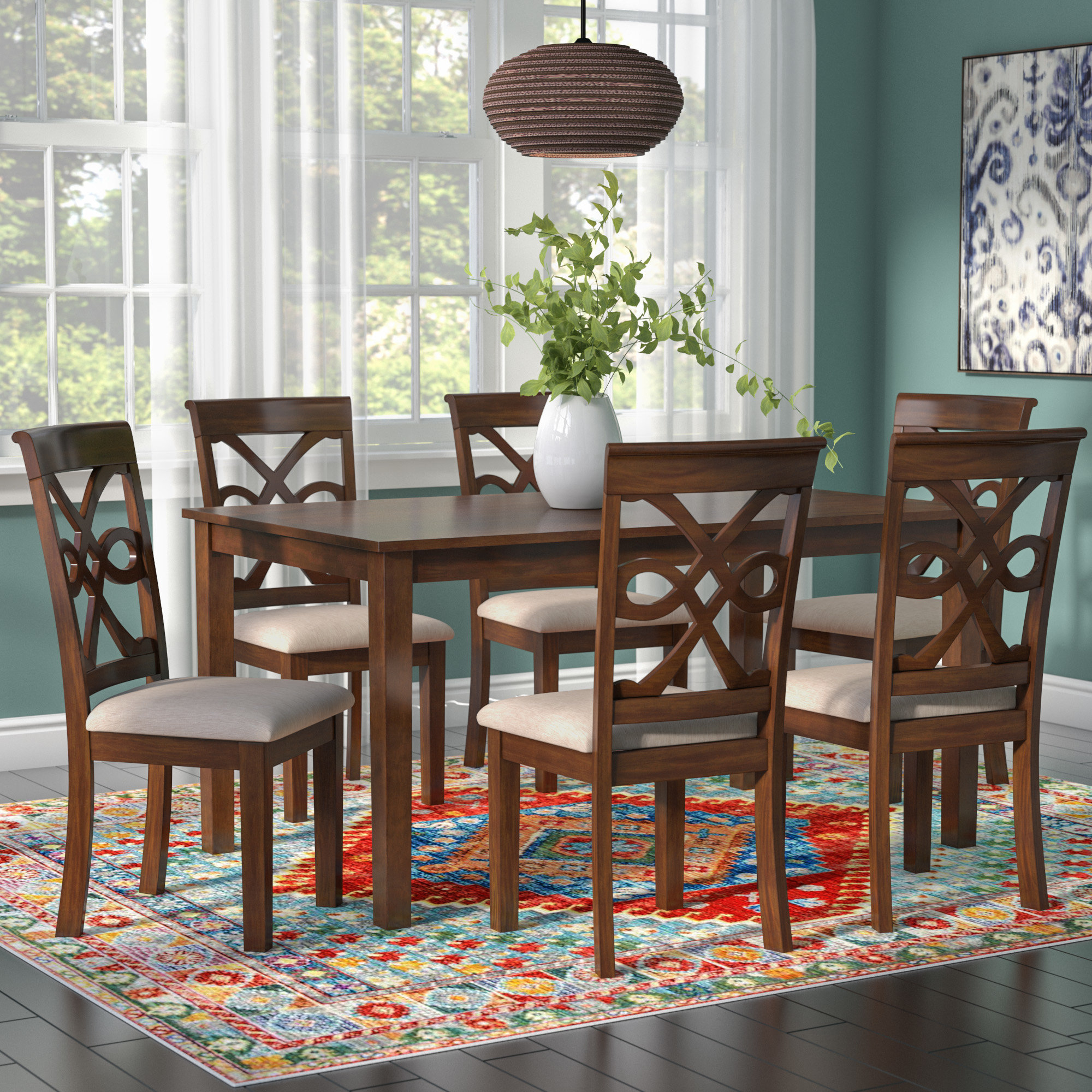 Duron 7 Piece Dining Set Pertaining To Preferred Laconia 7 Pieces Solid Wood Dining Sets (set Of 7) (View 8 of 20)