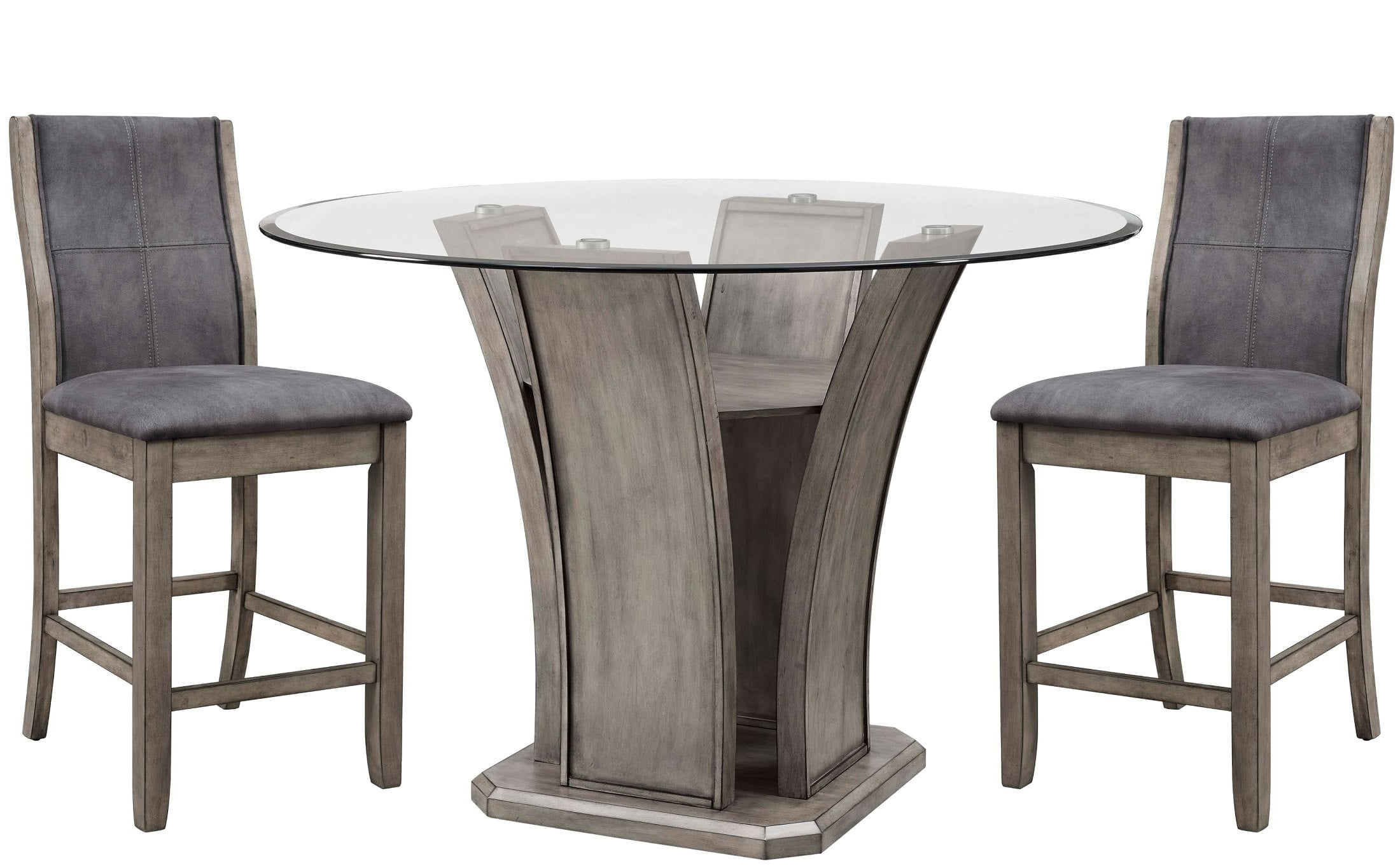 Dylan Gray Wash Round Counter Height Dining Room Set With Regard To Widely Used Kinsler 3 Piece Bistro Sets (View 5 of 20)