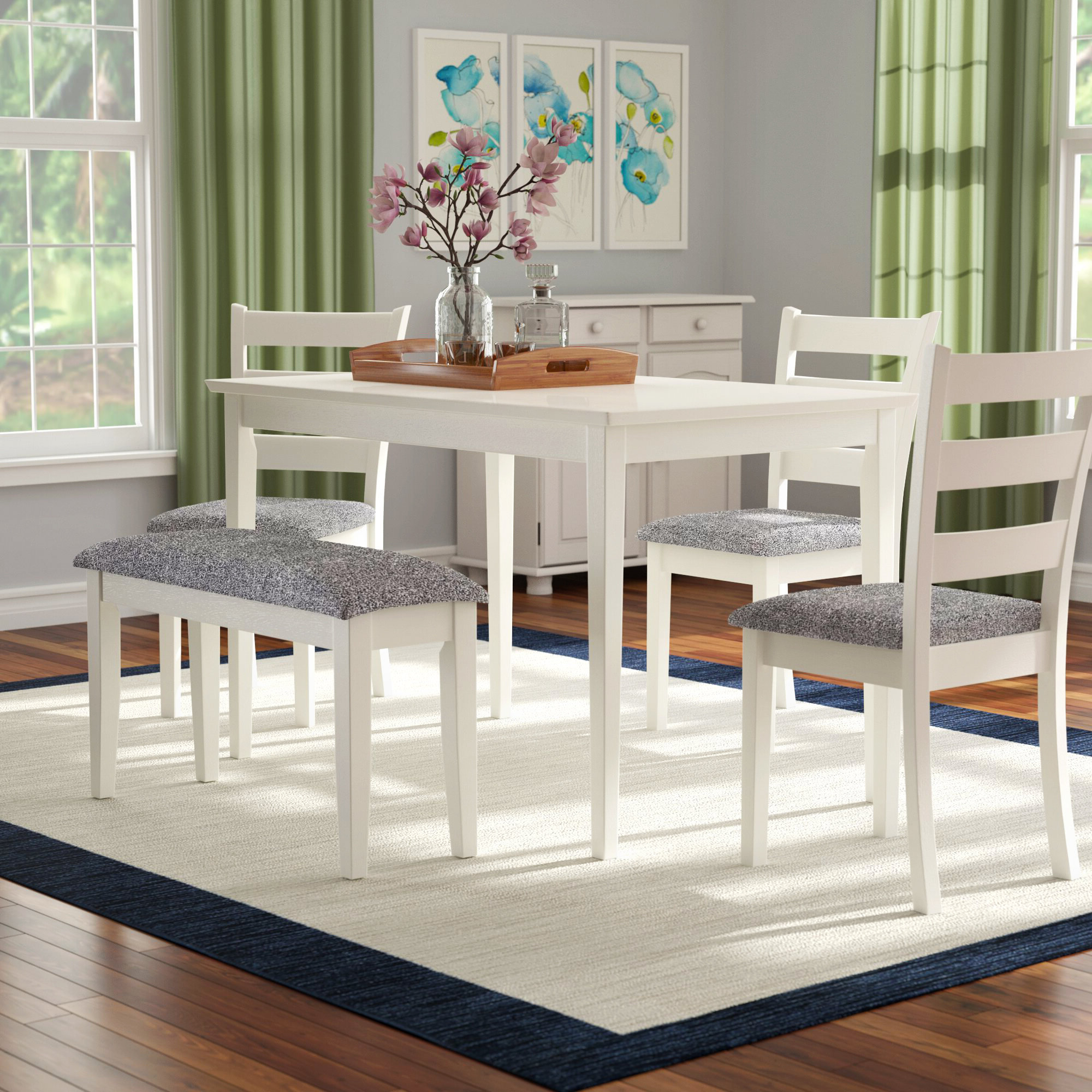 Emmie 5 Piece Dining Set For Most Popular Yedinak 5 Piece Solid Wood Dining Sets (View 5 of 20)