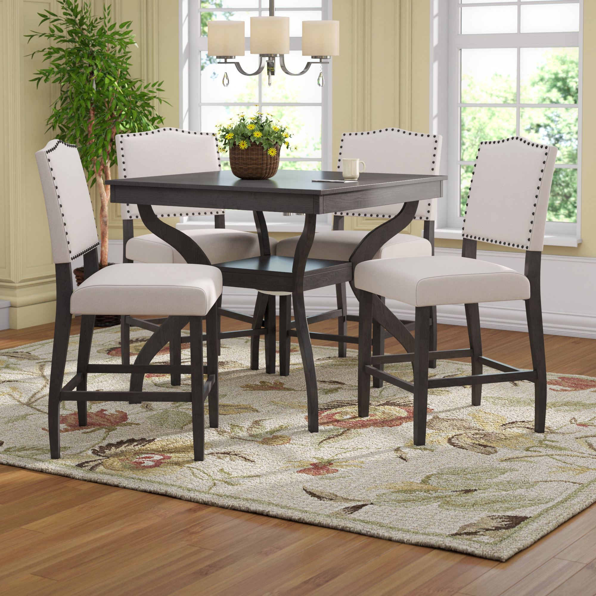 Ephraim 5 Piece Dining Sets Regarding Well Known Campton 5 Piece Counter Height Dining Set (View 15 of 20)