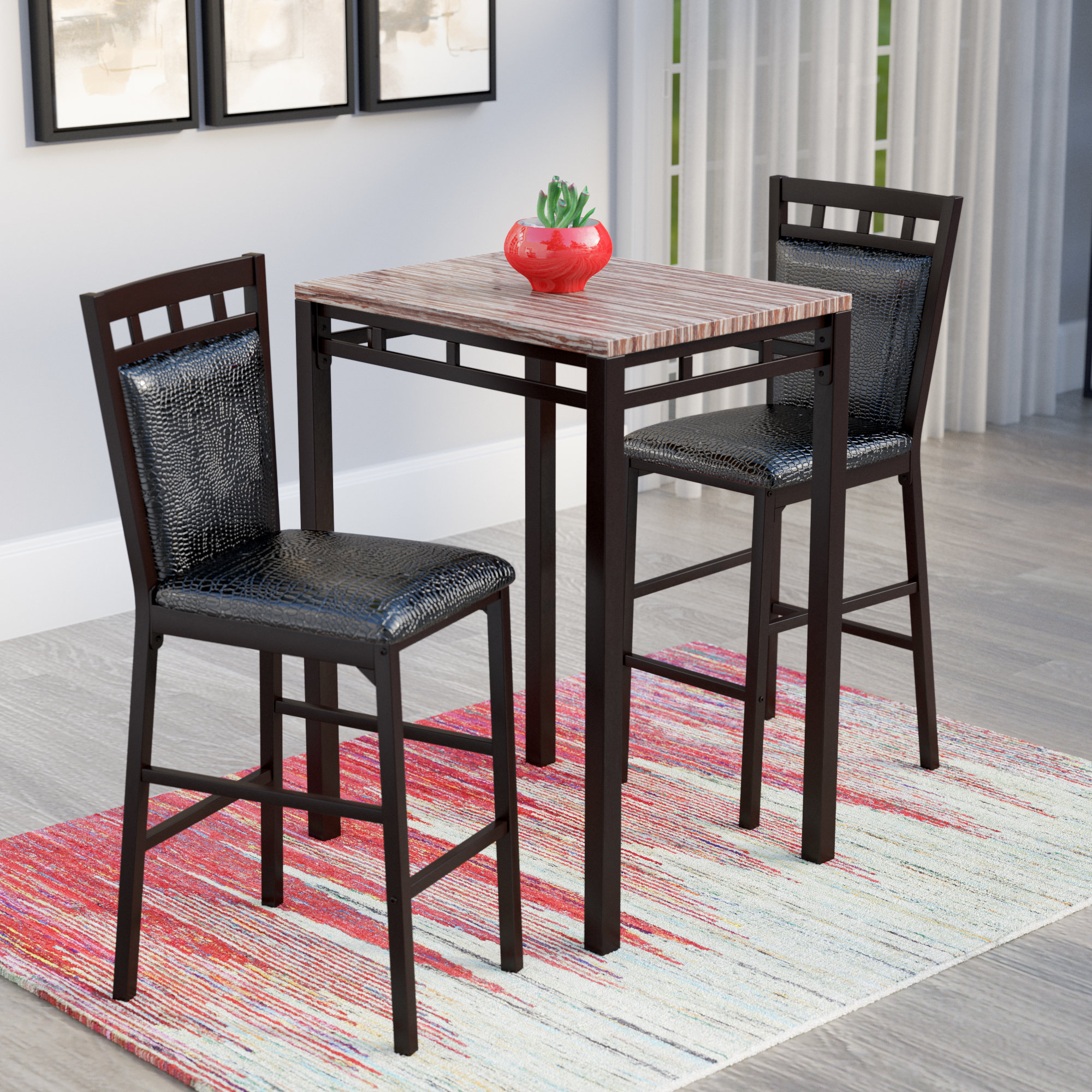 Eric 3 Piece Pub Table Set With Newest Miskell 3 Piece Dining Sets (View 5 of 20)