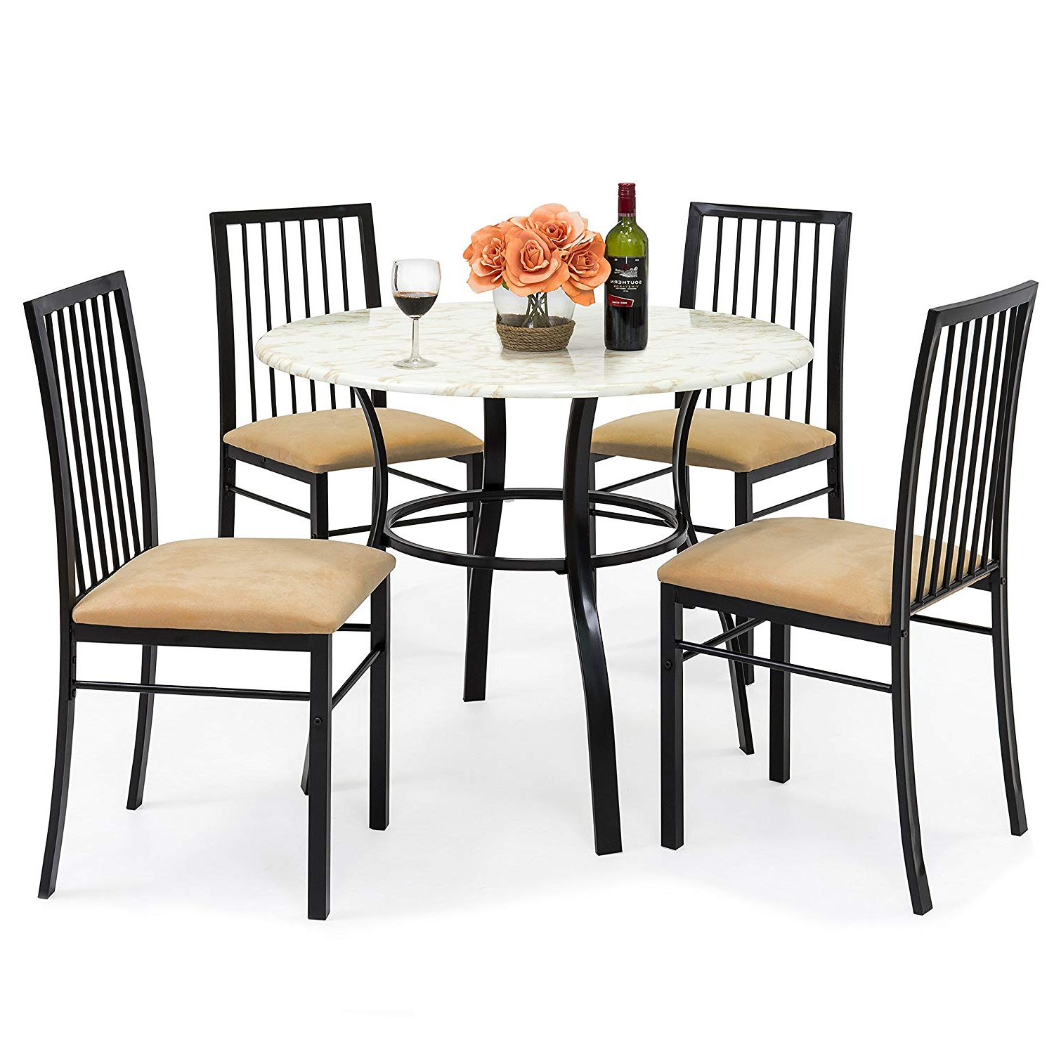 Evellen 5 Piece Solid Wood Dining Sets (Set Of 5) For Popular Best Choice Products 5 Piece Faux Marble Top Dining Table And Chairs Set (View 3 of 20)
