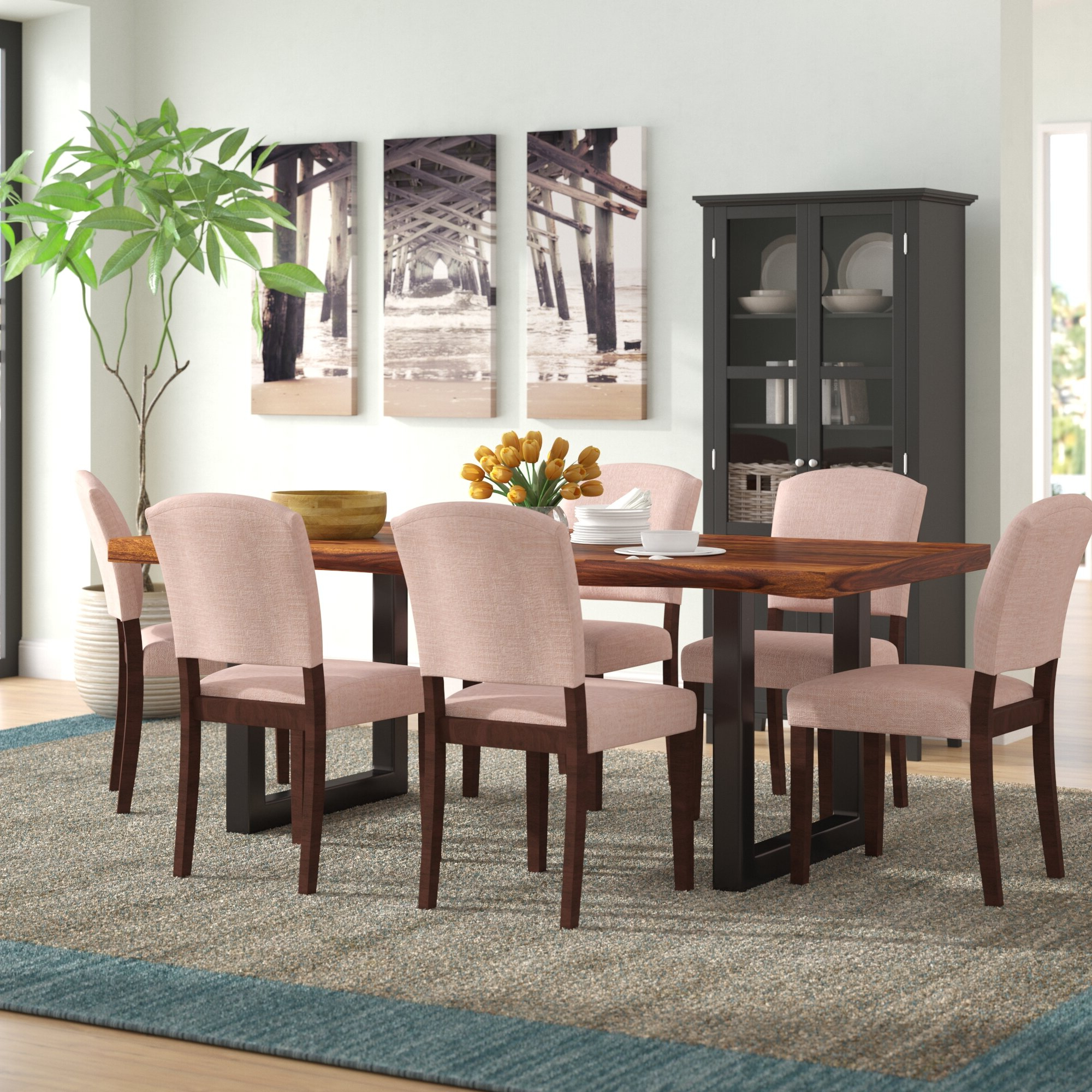 Evellen 5 Piece Solid Wood Dining Sets (Set Of 5) With Regard To 2018 Linde 7 Piece Dining Set (Gallery 1 of 20)