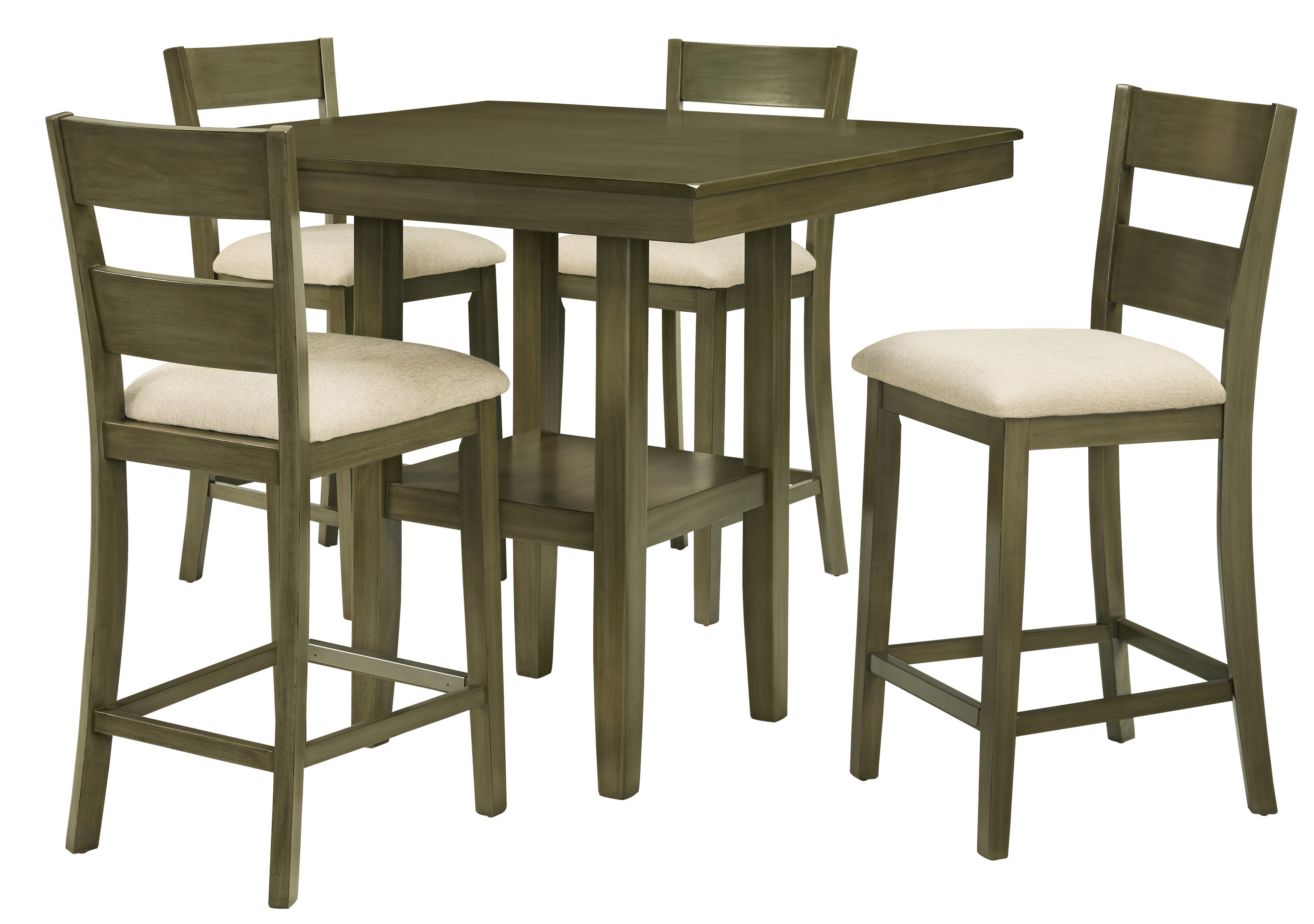 Famous Bettencourt 3 Piece Counter Height Solid Wood Dining Sets Within Gwyneth 5 Piece Counter Height Dining Set (Gallery 16 of 20)