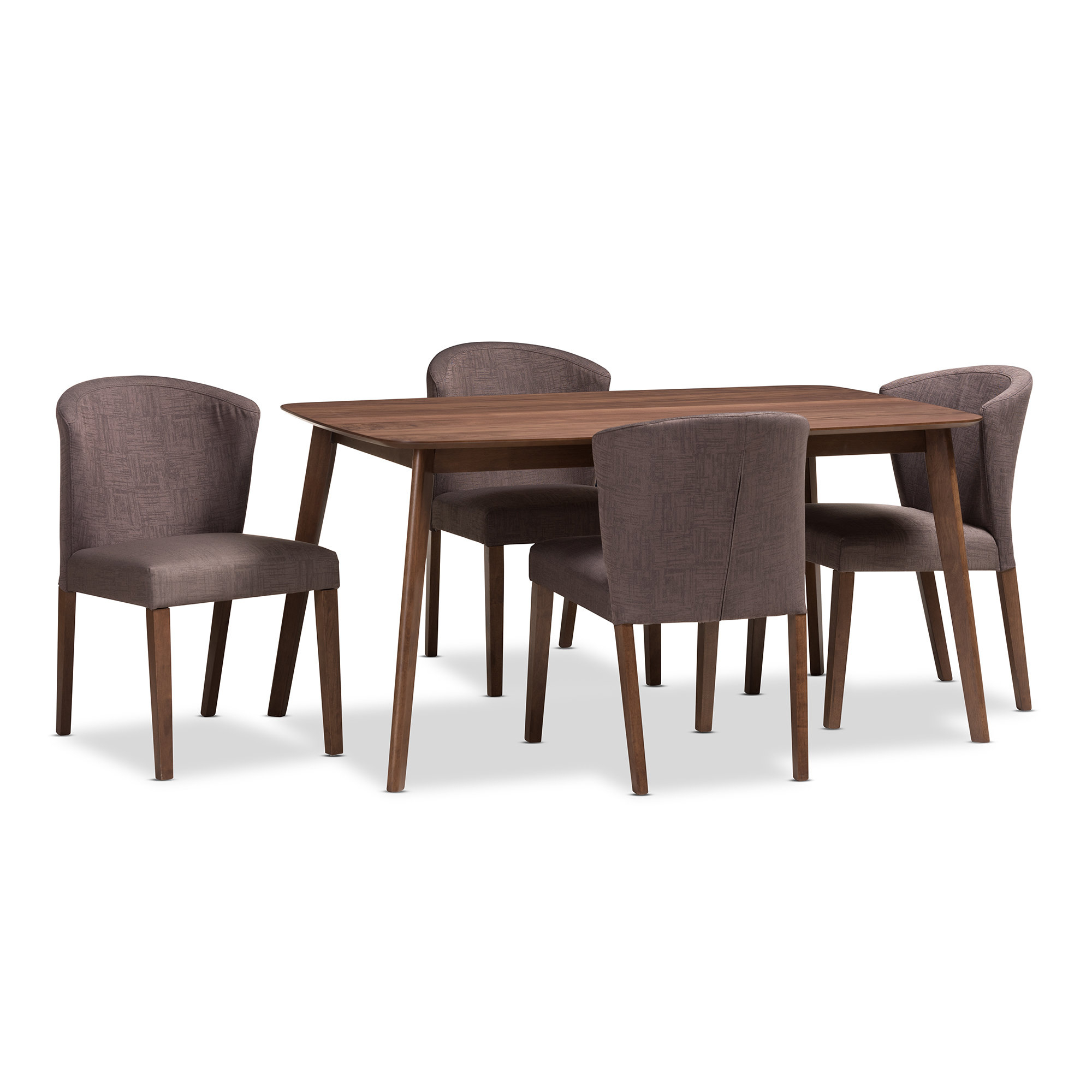 Famous George Oliver Dingler Mid Century Wood 5 Piece Dining Set With Regard To Tejeda 5 Piece Dining Sets (View 4 of 20)
