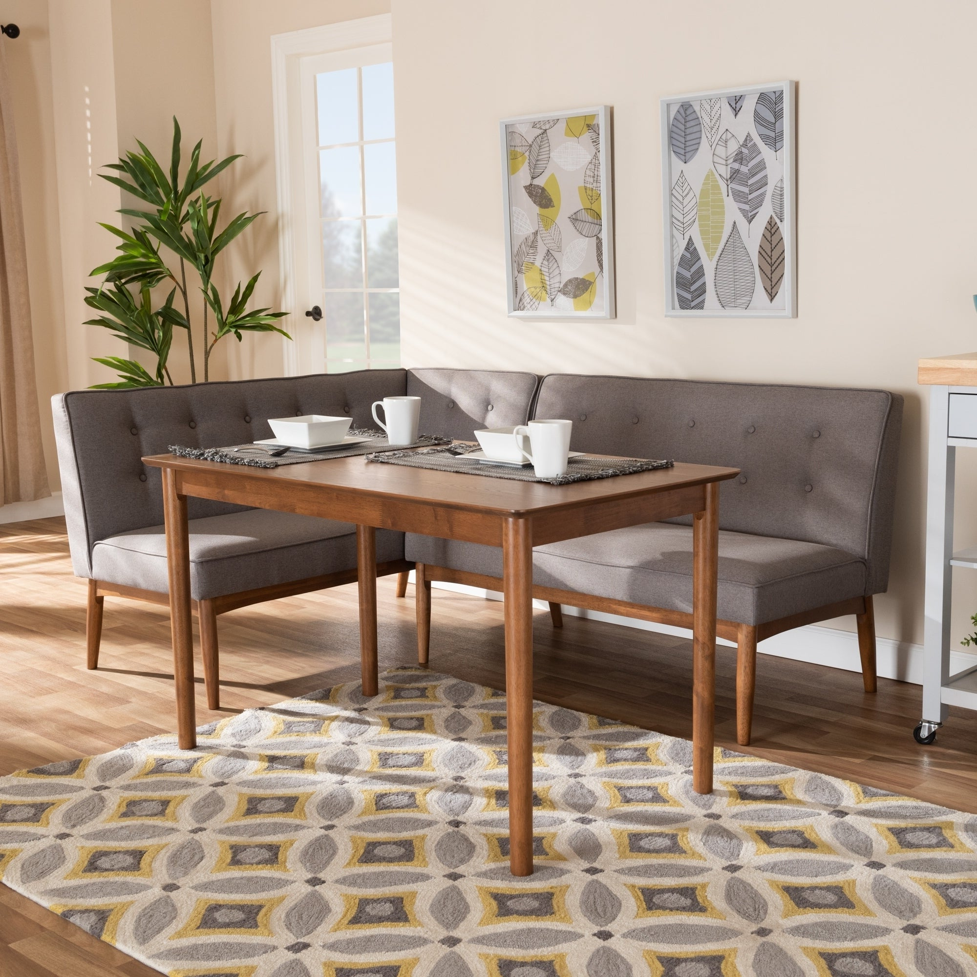 Famous Mid Century Gray Fabric 3 Piece Dining Nook Set With Regard To Maloney 3 Piece Breakfast Nook Dining Sets (View 2 of 20)