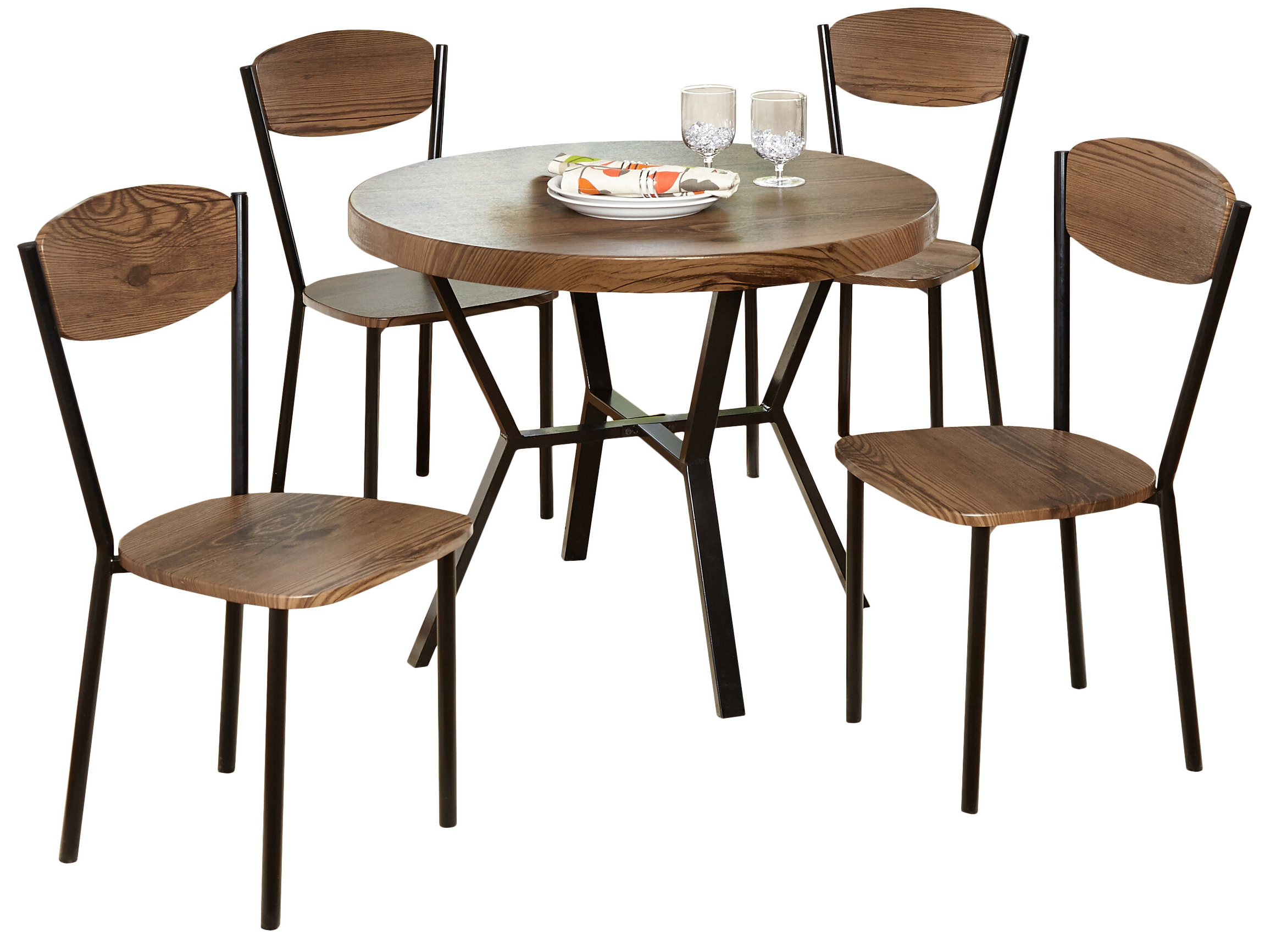 Famous Rarick 5 Piece Solid Wood Dining Sets (Set Of 5) Within Piazza 5 Piece Dining Set (Gallery 3 of 20)
