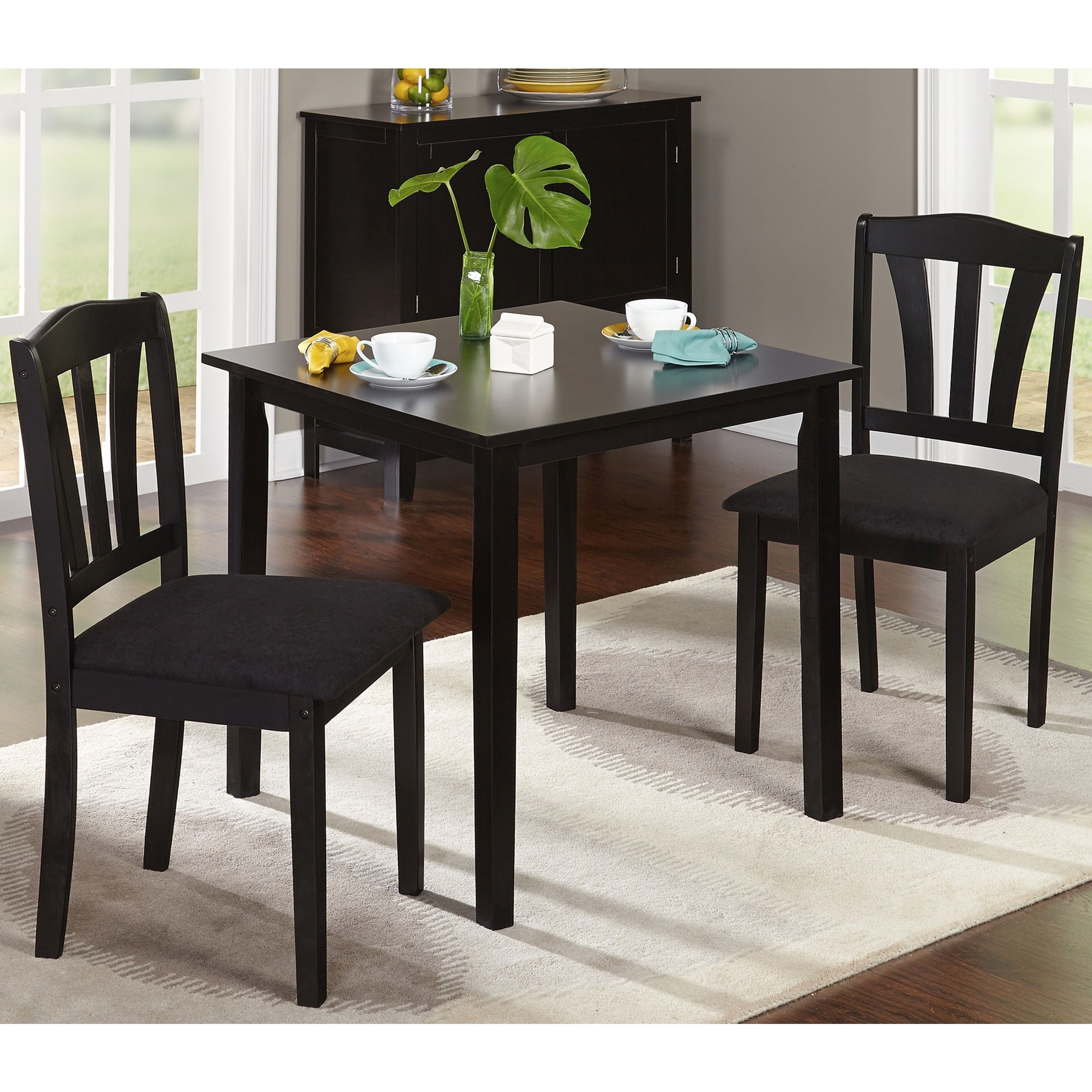Fashionable Baillie 3 Piece Dining Sets Inside Porch & Den Third Ward Michigan 3 Piece Dining Set (Black Wood (View 9 of 20)