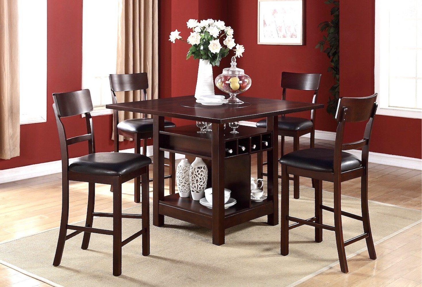 Fashionable Biggs 5 Piece Counter Height Solid Wood Dining Sets (Set Of 5) Intended For Stevenson 5 Piece Pub Table Set (Gallery 5 of 20)